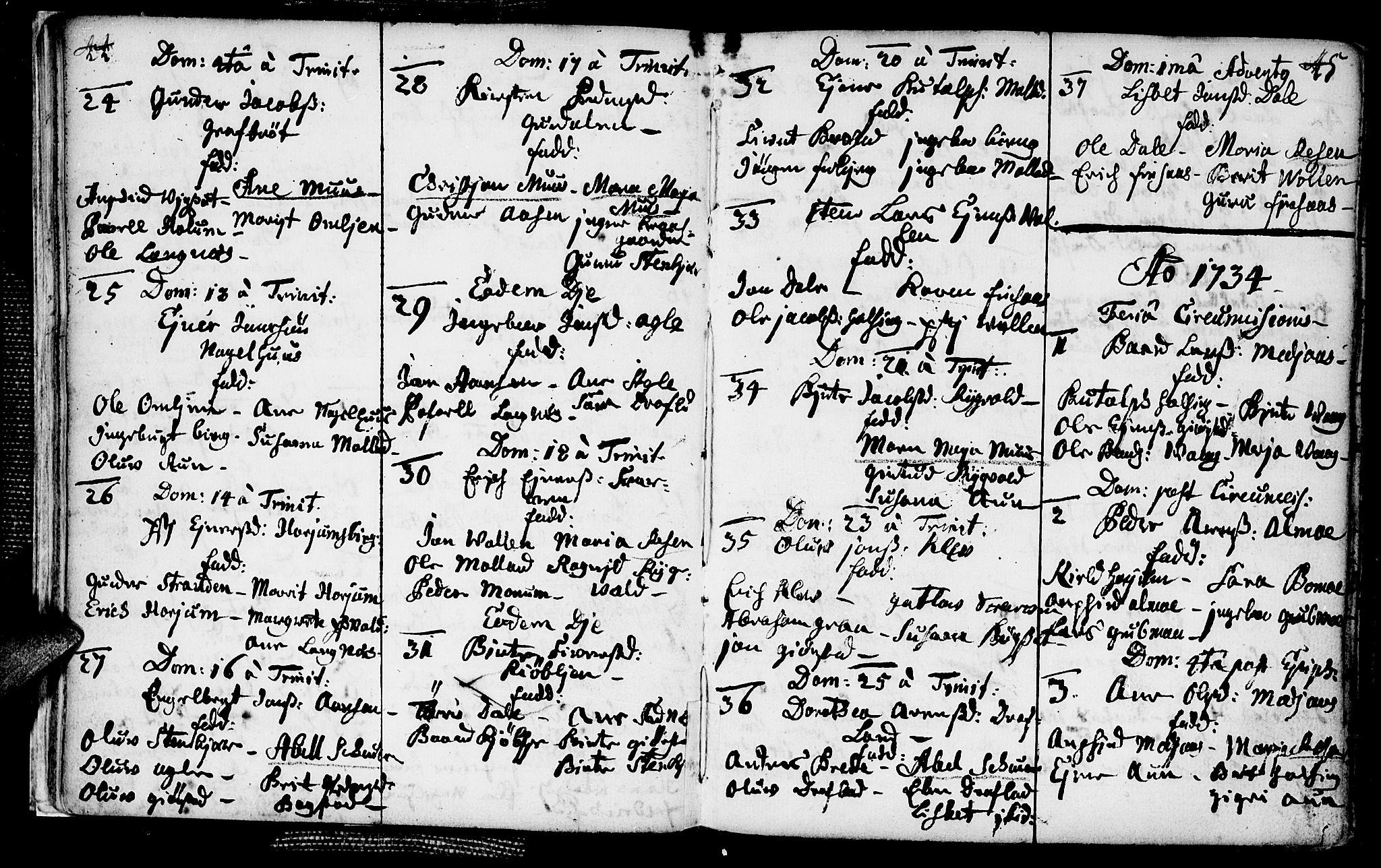 SAT, Ministerialprotokoller, klokkerbøker og fødselsregistre - Nord-Trøndelag, 749/L0467: Ministerialbok nr. 749A01, 1733-1787, s. 44-45