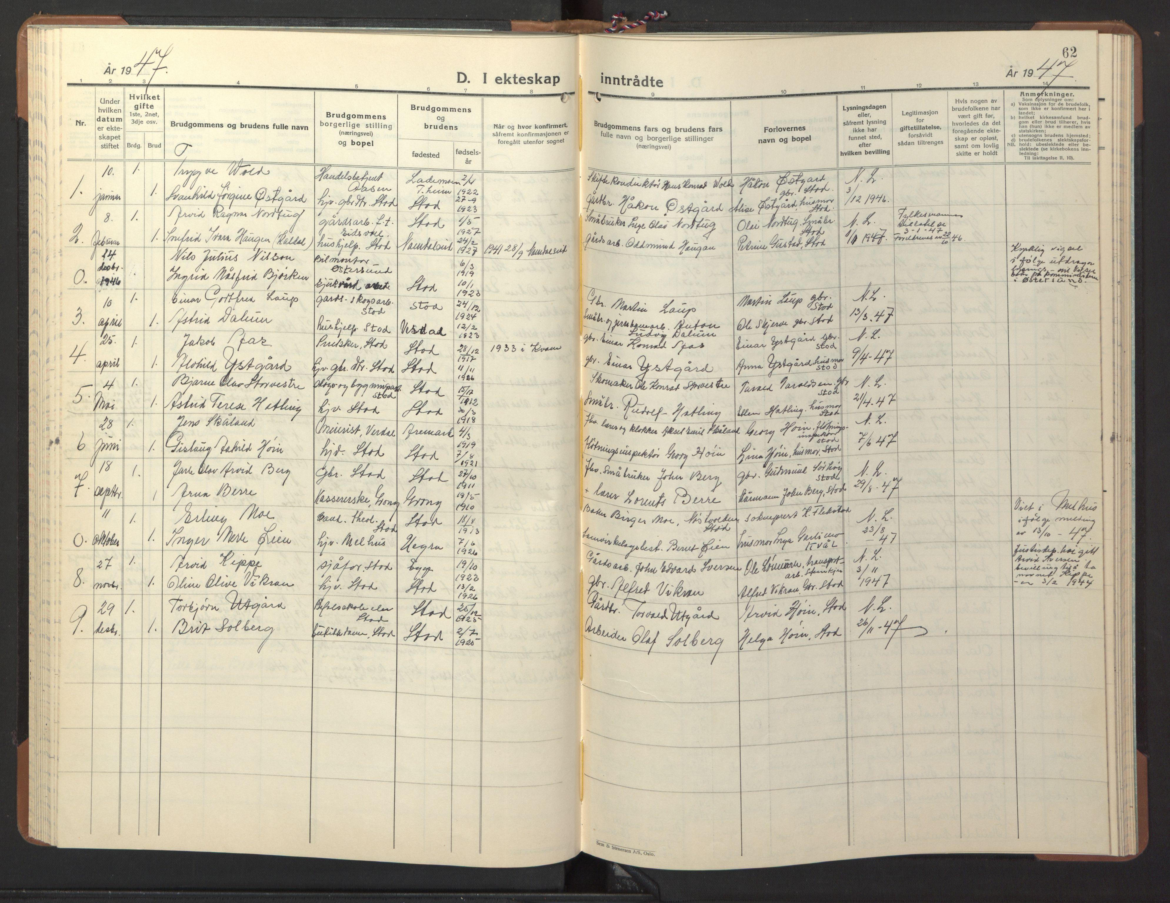 SAT, Ministerialprotokoller, klokkerbøker og fødselsregistre - Nord-Trøndelag, 746/L0456: Klokkerbok nr. 746C02, 1936-1948, s. 62