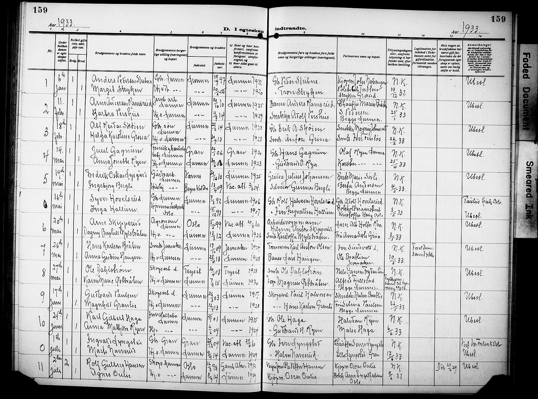 SAH, Lunner prestekontor, H/Ha/Hab/L0002: Klokkerbok nr. 2, 1923-1933, s. 159
