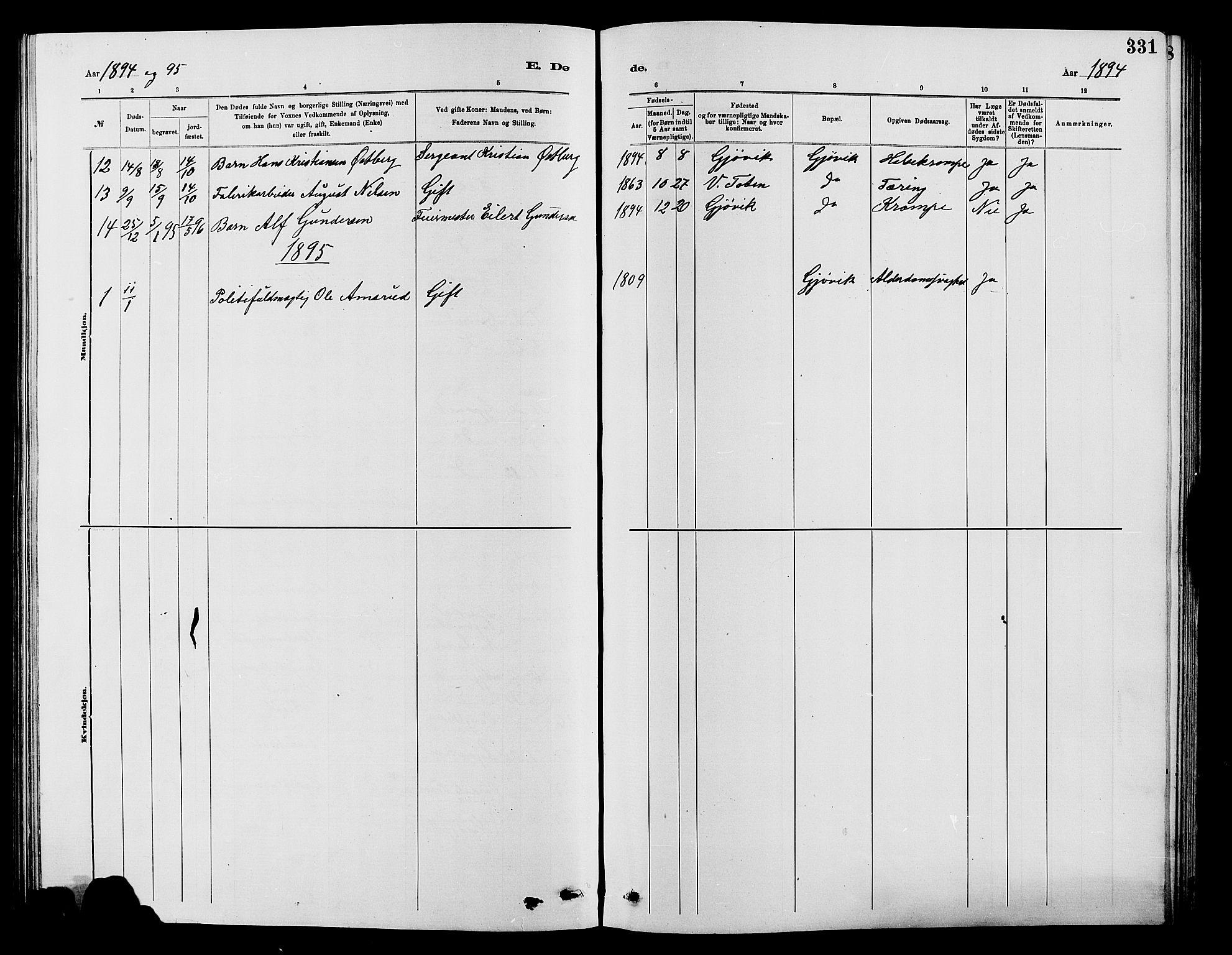 SAH, Vardal prestekontor, H/Ha/Hab/L0007: Klokkerbok nr. 7 /2, 1881-1895, s. 331