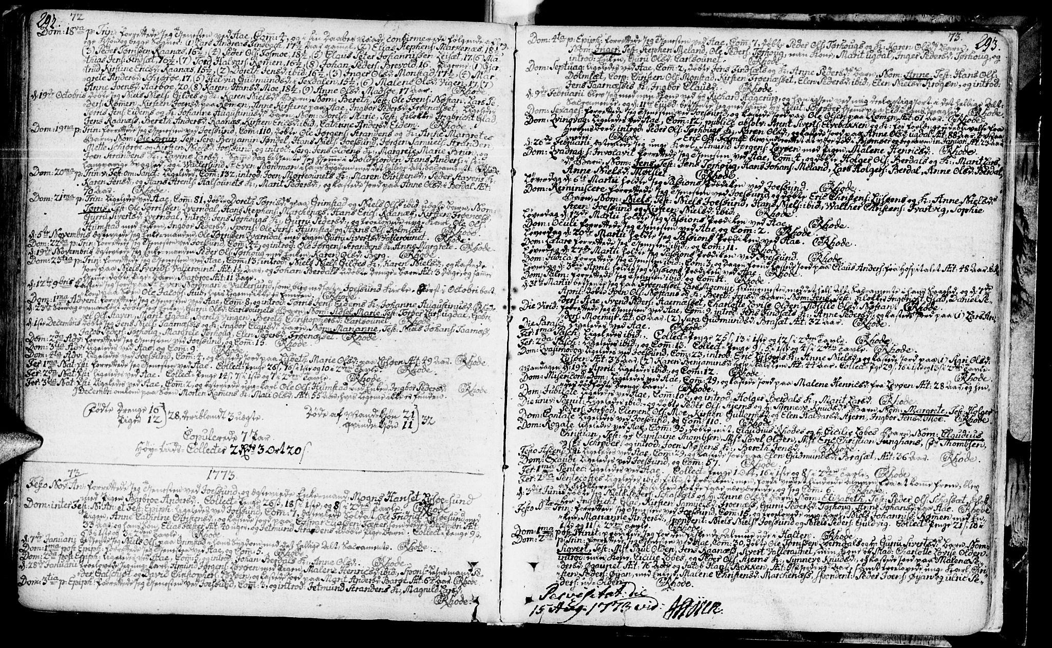 SAT, Ministerialprotokoller, klokkerbøker og fødselsregistre - Sør-Trøndelag, 655/L0672: Ministerialbok nr. 655A01, 1750-1779, s. 292-293