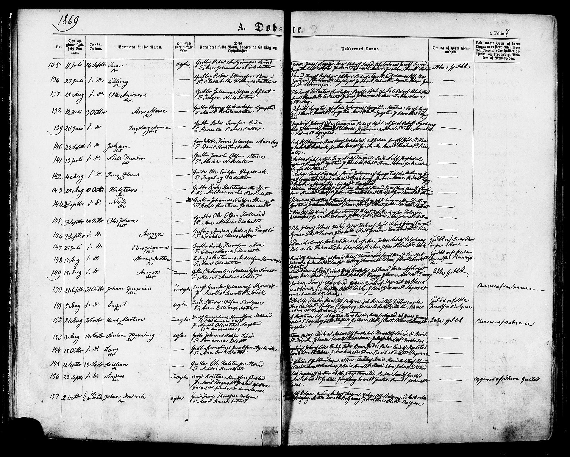 SAT, Ministerialprotokoller, klokkerbøker og fødselsregistre - Møre og Romsdal, 568/L0805: Ministerialbok nr. 568A12 /1, 1869-1884, s. 7