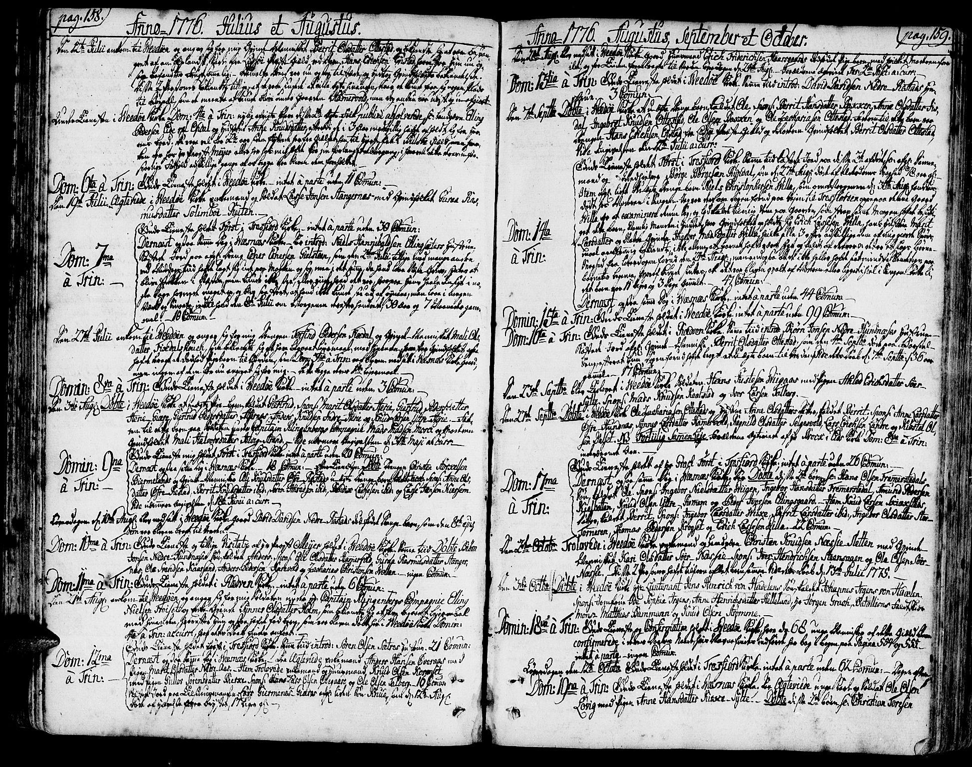 SAT, Ministerialprotokoller, klokkerbøker og fødselsregistre - Møre og Romsdal, 547/L0600: Ministerialbok nr. 547A02, 1765-1799, s. 158-159