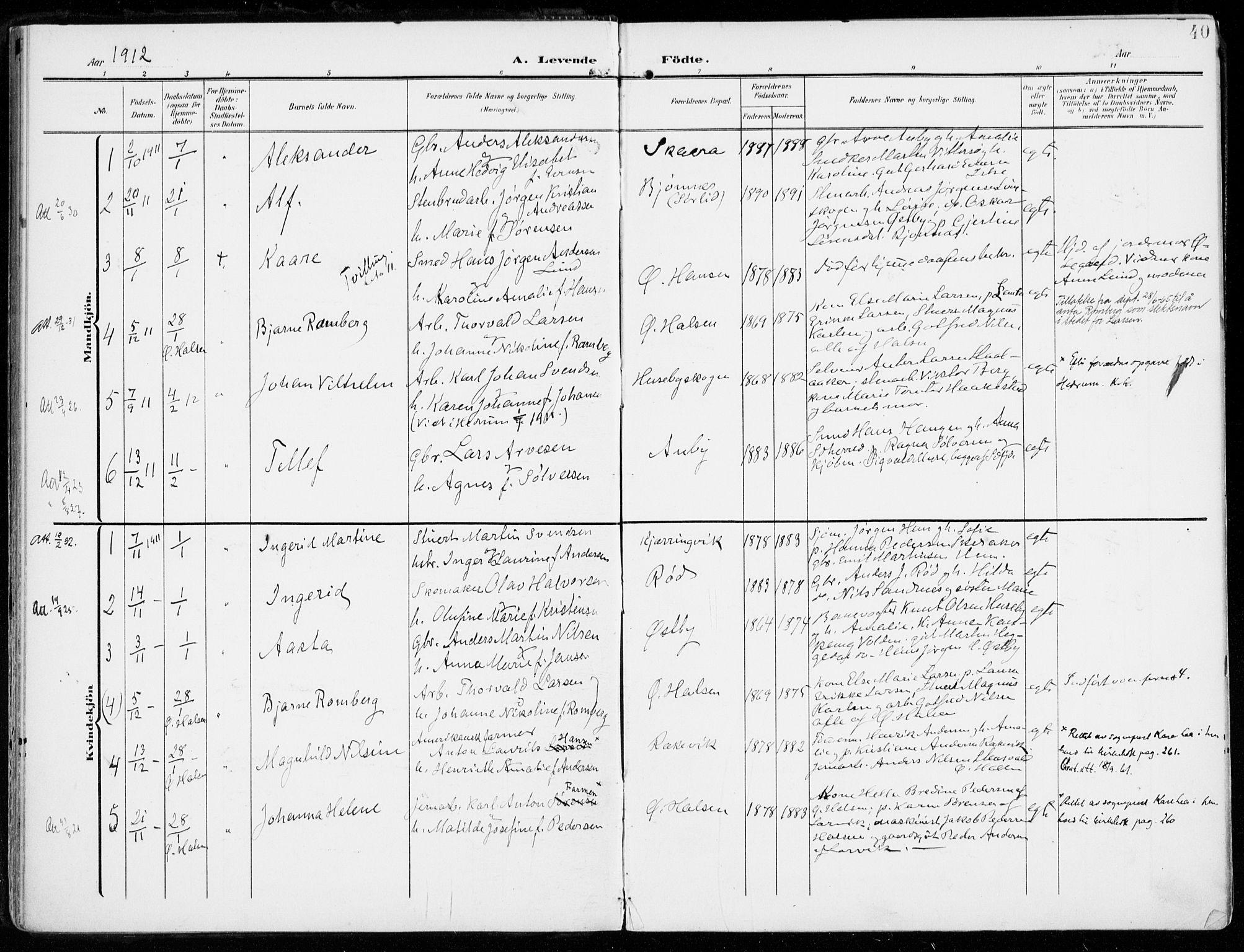 SAKO, Tjølling kirkebøker, F/Fa/L0010: Ministerialbok nr. 10, 1906-1923, s. 40