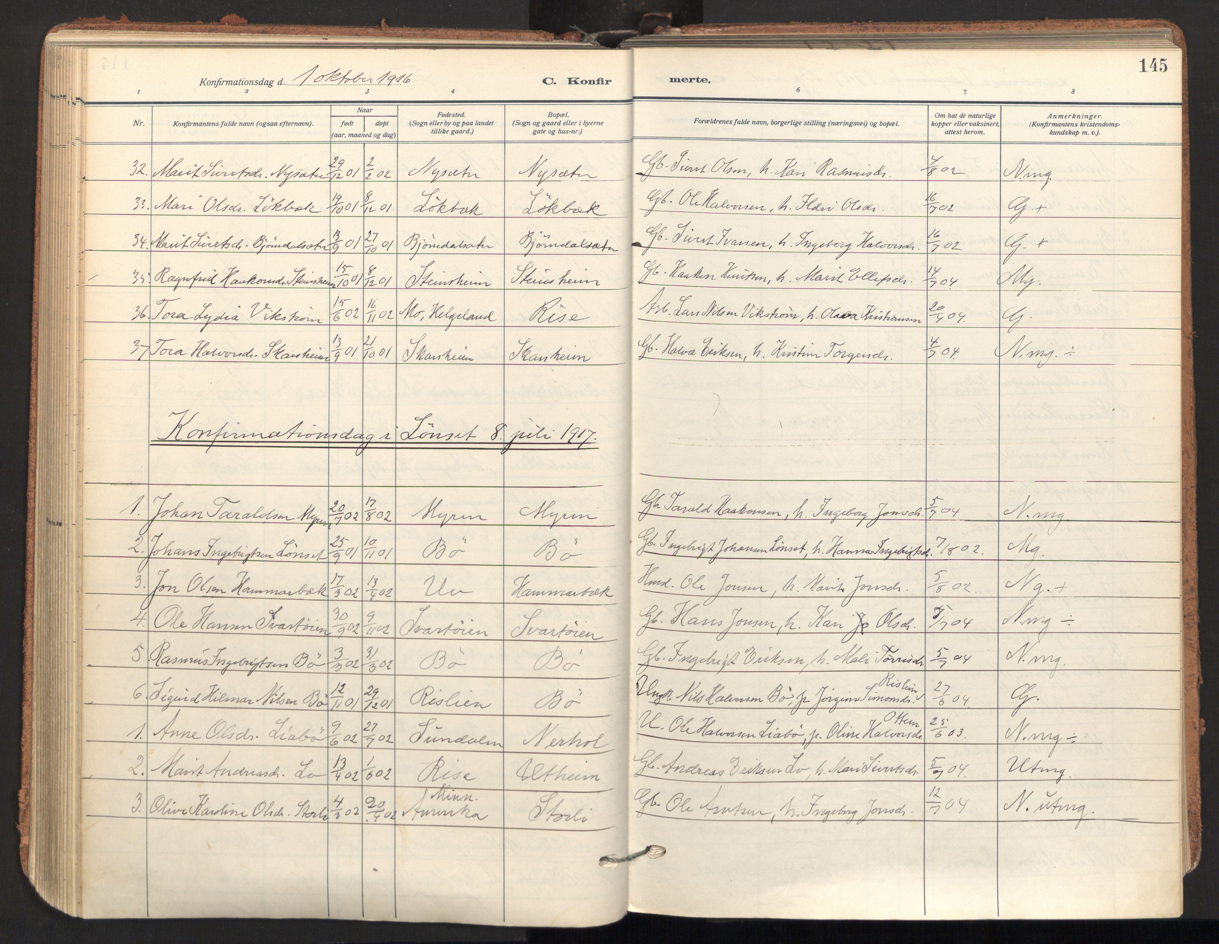 SAT, Ministerialprotokoller, klokkerbøker og fødselsregistre - Sør-Trøndelag, 678/L0909: Ministerialbok nr. 678A17, 1912-1930, s. 145