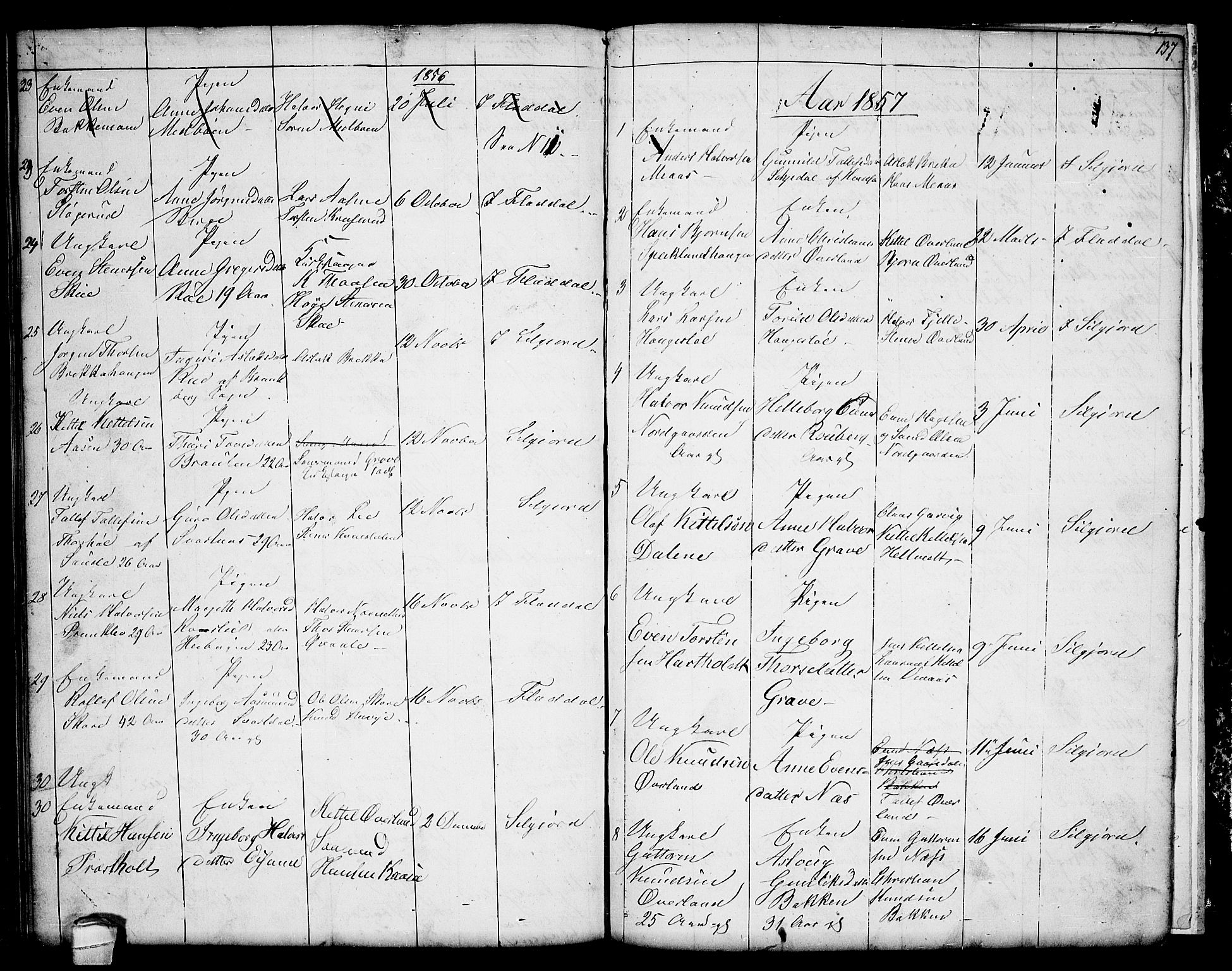 SAKO, Seljord kirkebøker, G/Ga/L0002: Klokkerbok nr. I 2, 1838-1866, s. 137