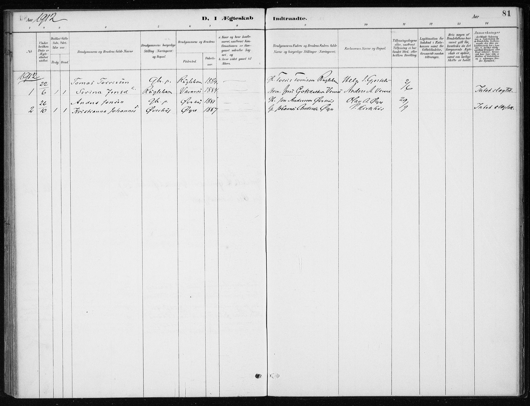 SAB, Kvinnherad Sokneprestembete, H/Haa: Ministerialbok nr. F 1, 1887-1912, s. 81