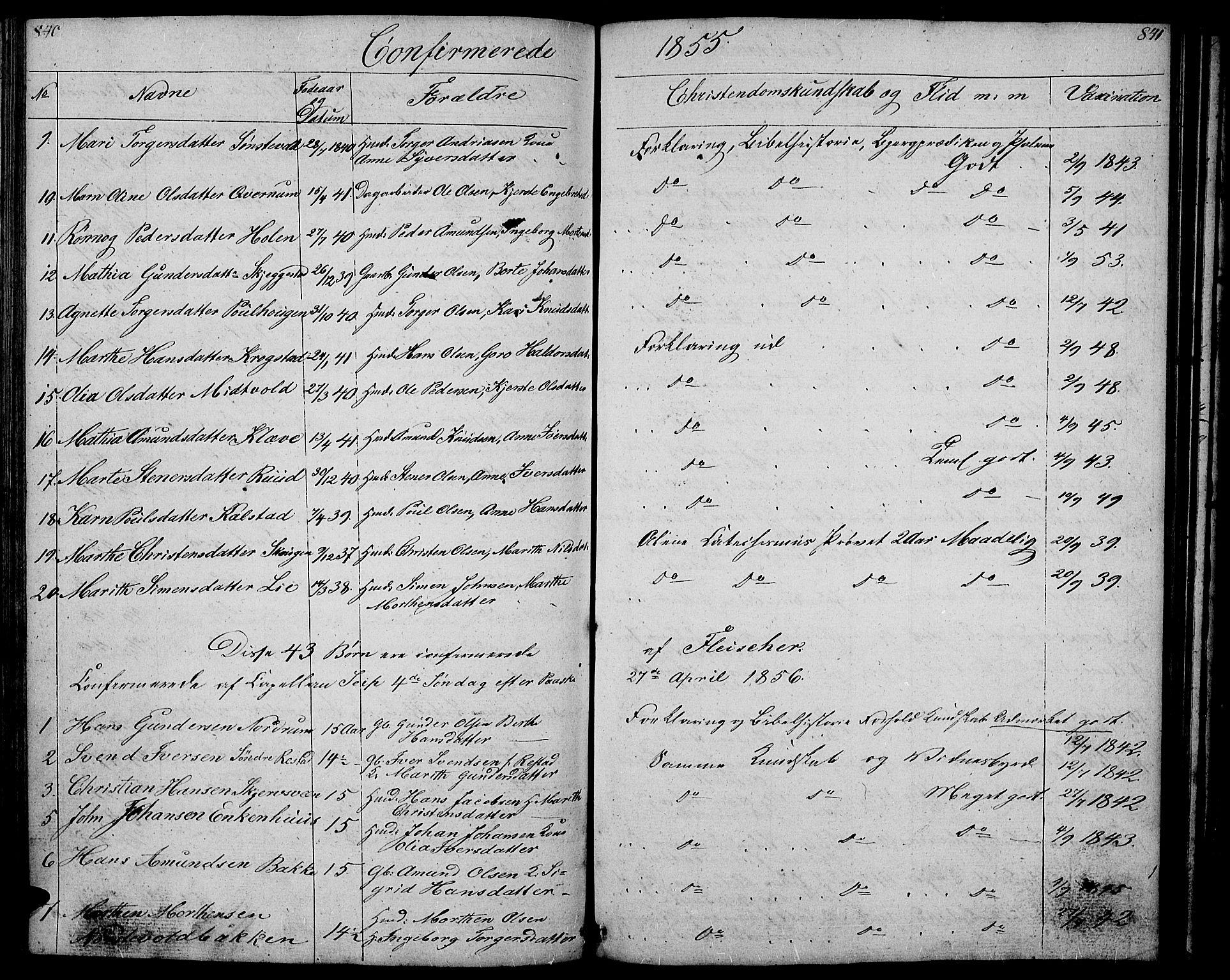 SAH, Gausdal prestekontor, Klokkerbok nr. 4, 1835-1870, s. 840-841