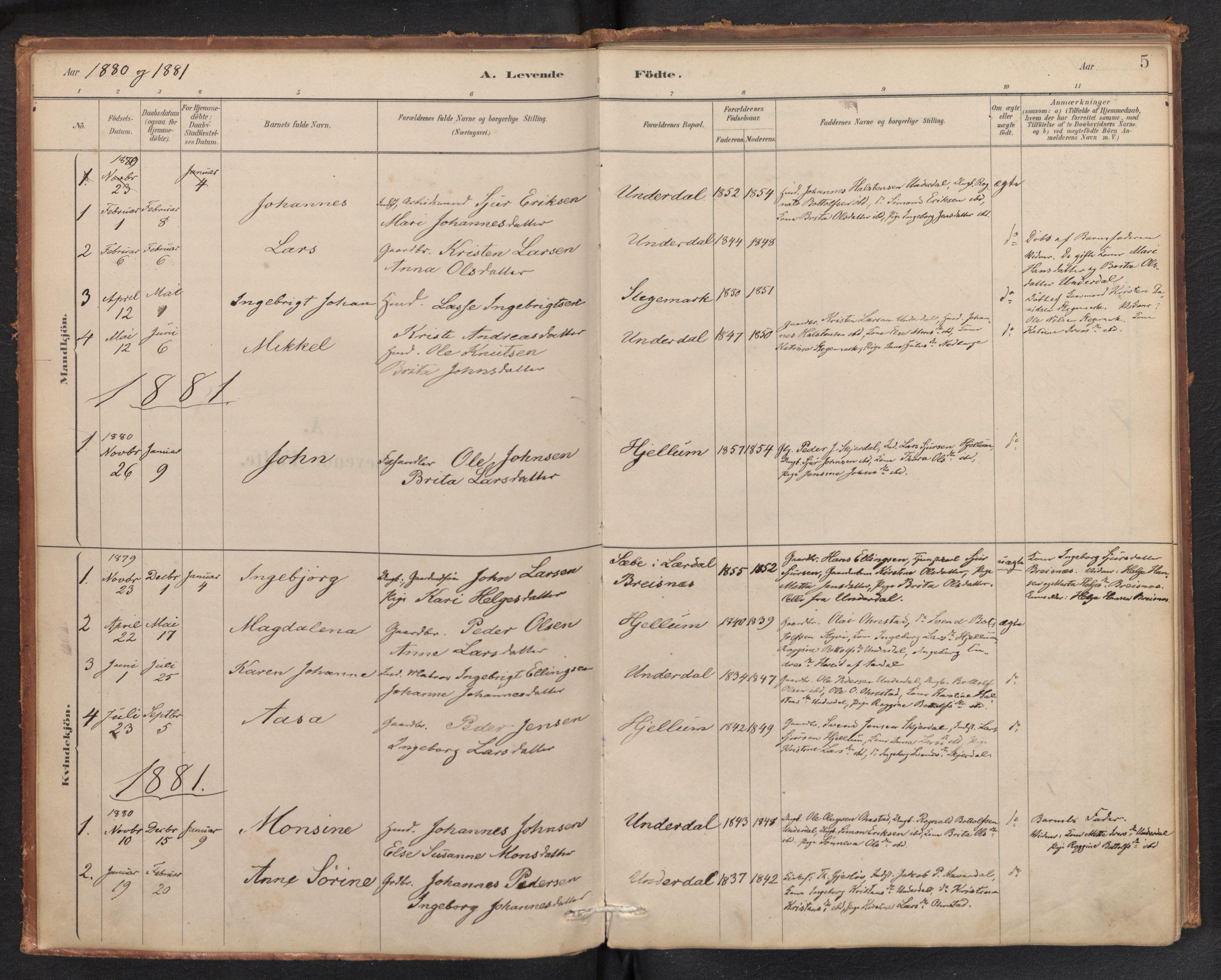 SAB, Aurland Sokneprestembete*, Ministerialbok nr. E 1, 1880-1907, s. 4b-5a