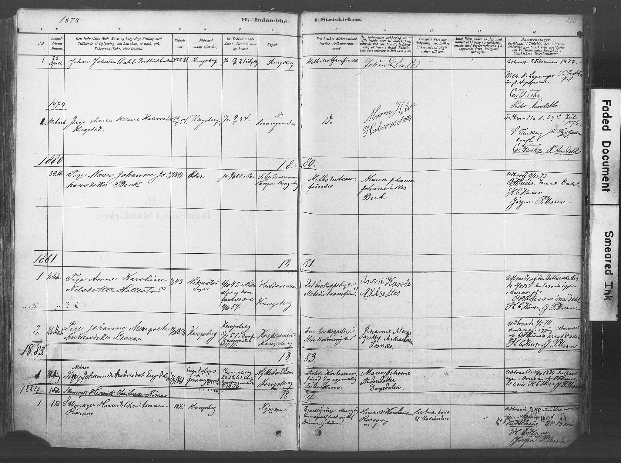 SAKO, Kongsberg kirkebøker, F/Fb/L0001: Ministerialbok nr. II 1, 1878-1886, s. 333