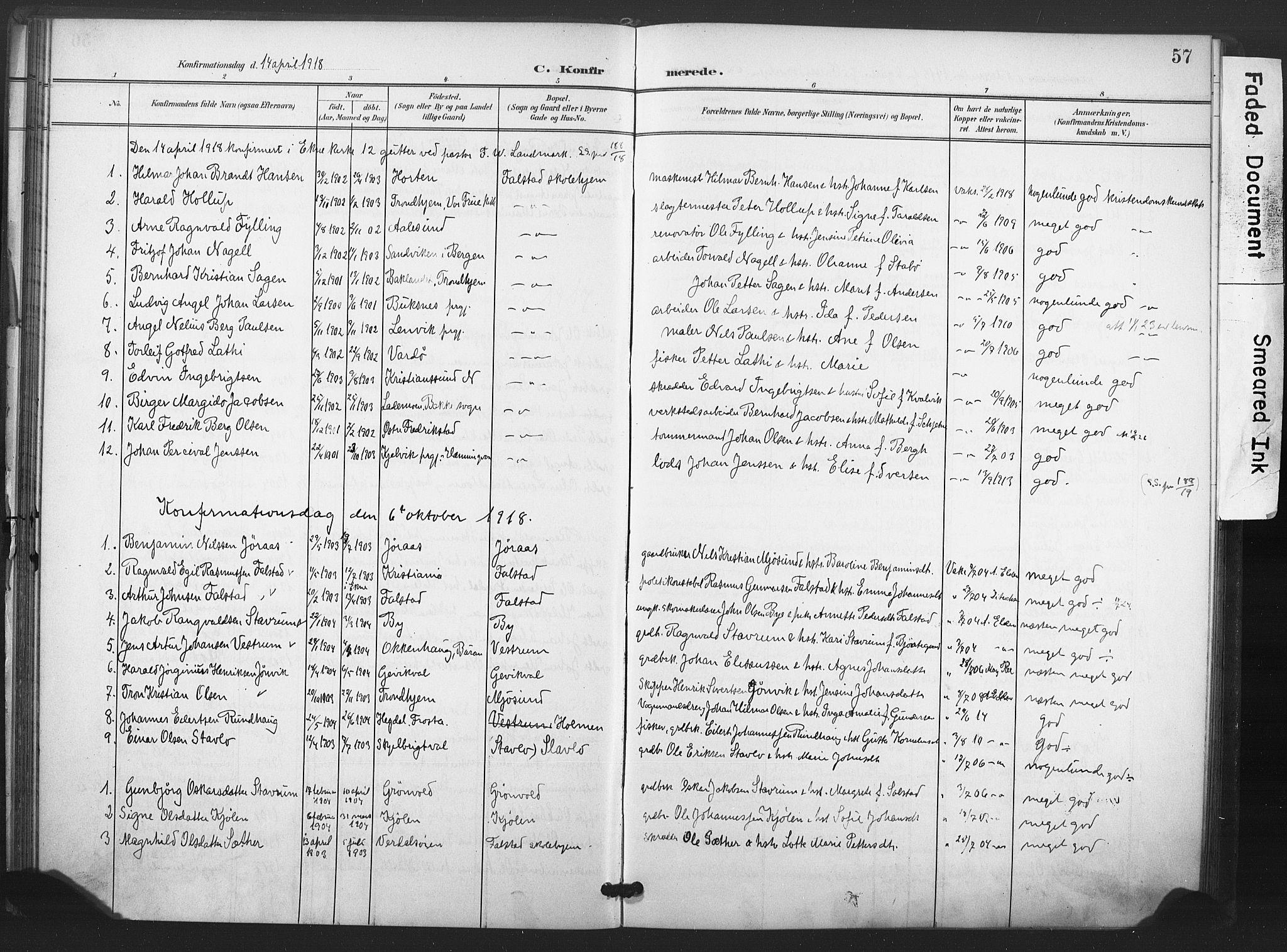 SAT, Ministerialprotokoller, klokkerbøker og fødselsregistre - Nord-Trøndelag, 719/L0179: Ministerialbok nr. 719A02, 1901-1923, s. 57