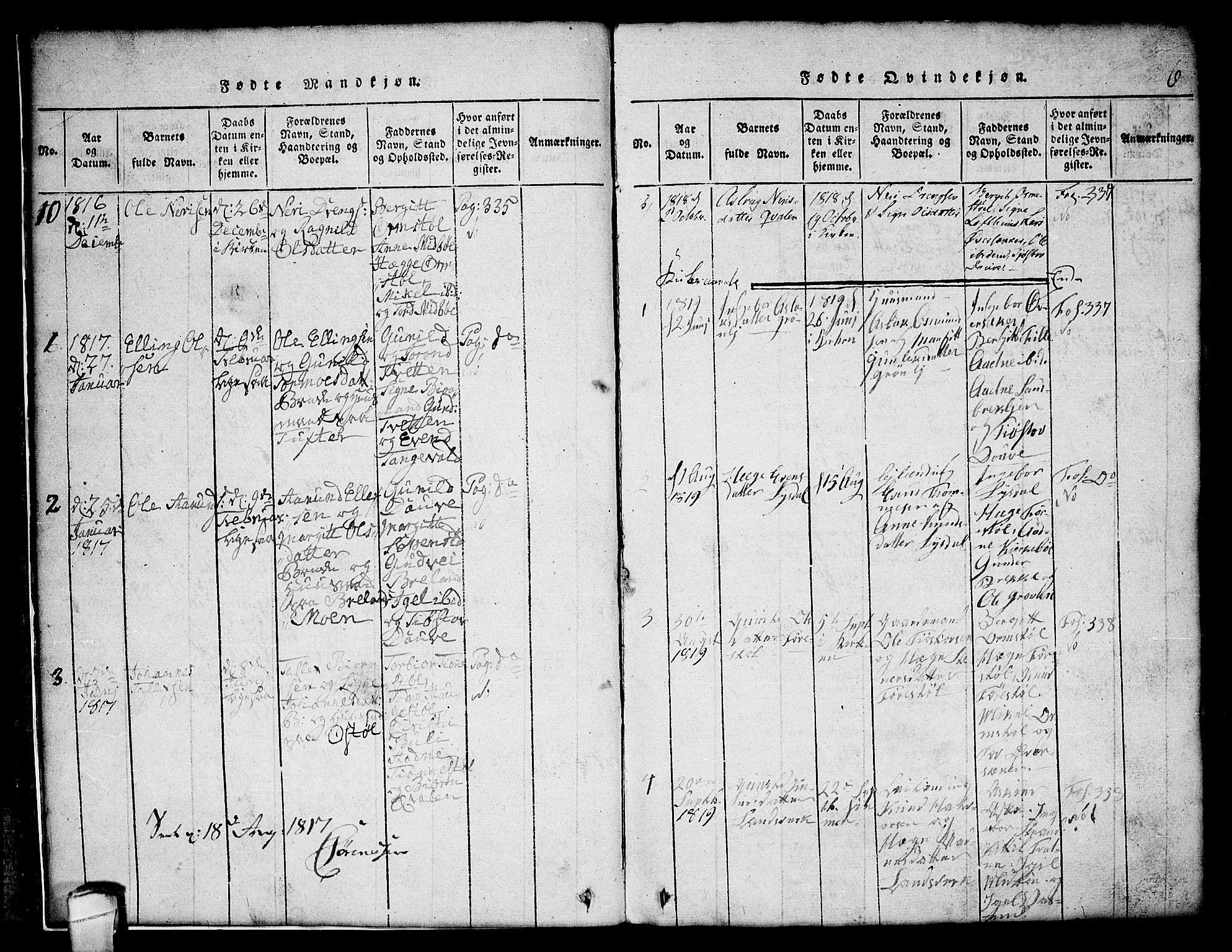 SAKO, Lårdal kirkebøker, G/Gc/L0001: Klokkerbok nr. III 1, 1815-1854, s. 6