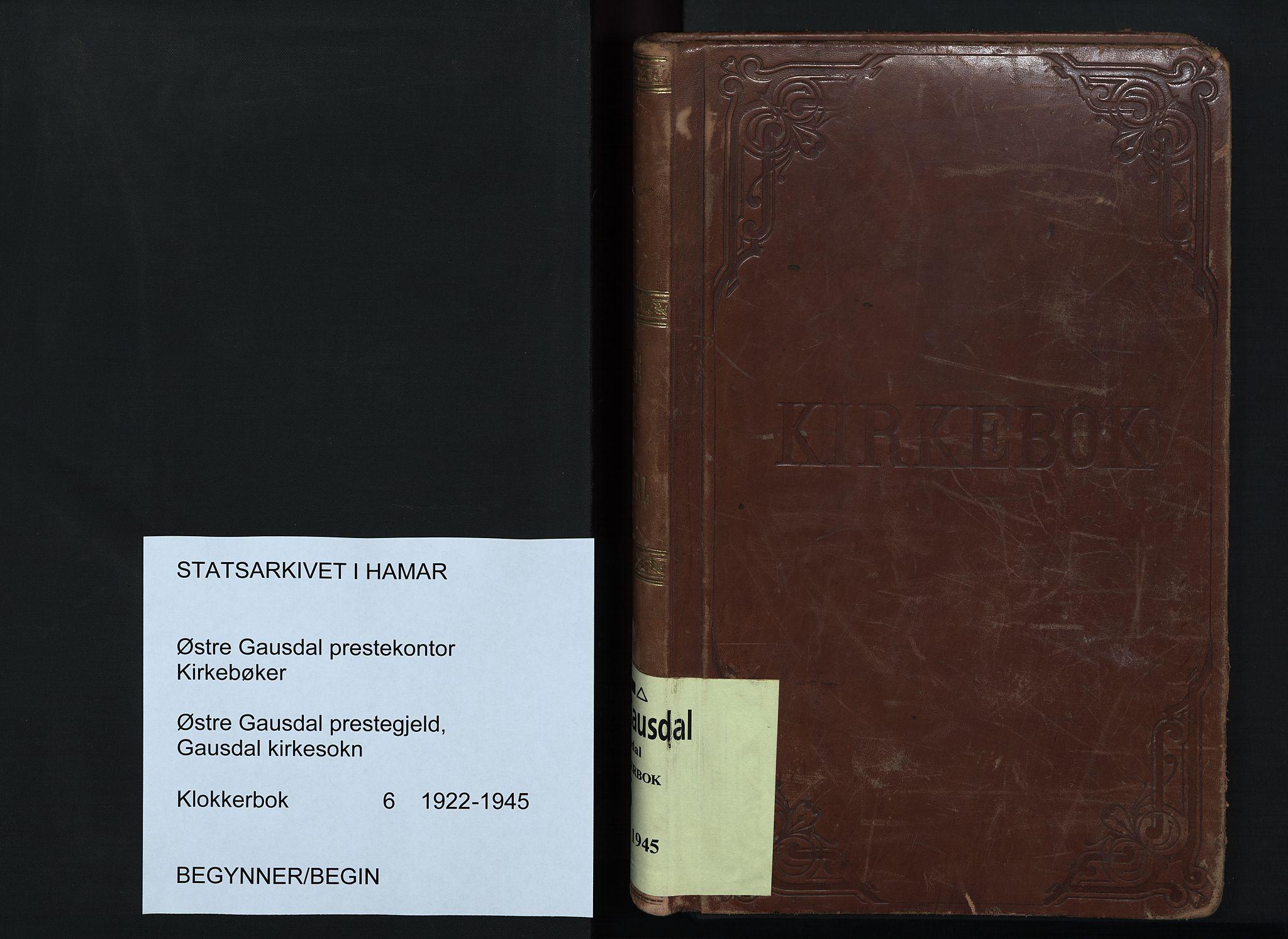SAH, Østre Gausdal prestekontor, Klokkerbok nr. 6, 1922-1945