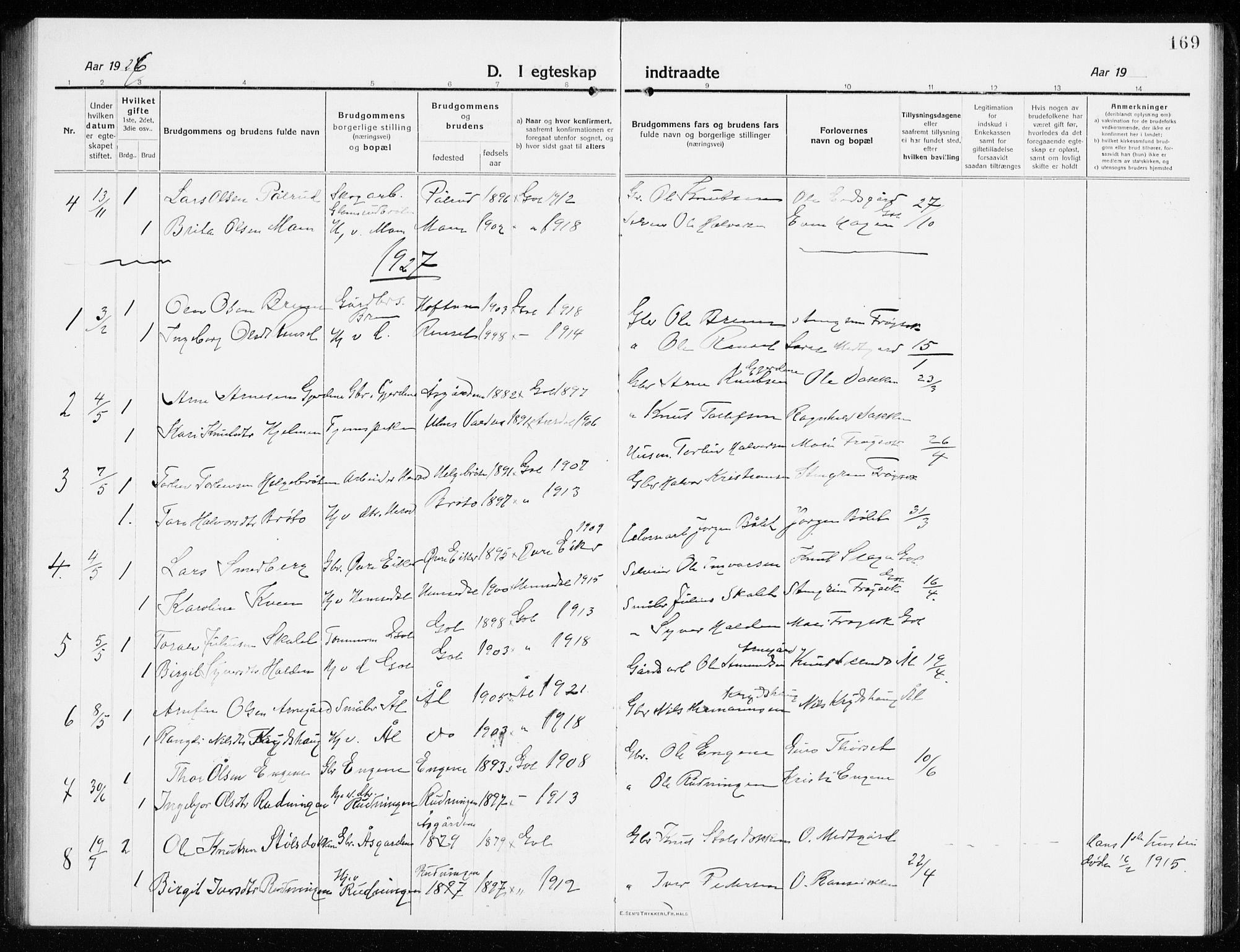 SAKO, Gol kirkebøker, G/Ga/L0004: Klokkerbok nr. I 4, 1915-1943, s. 169