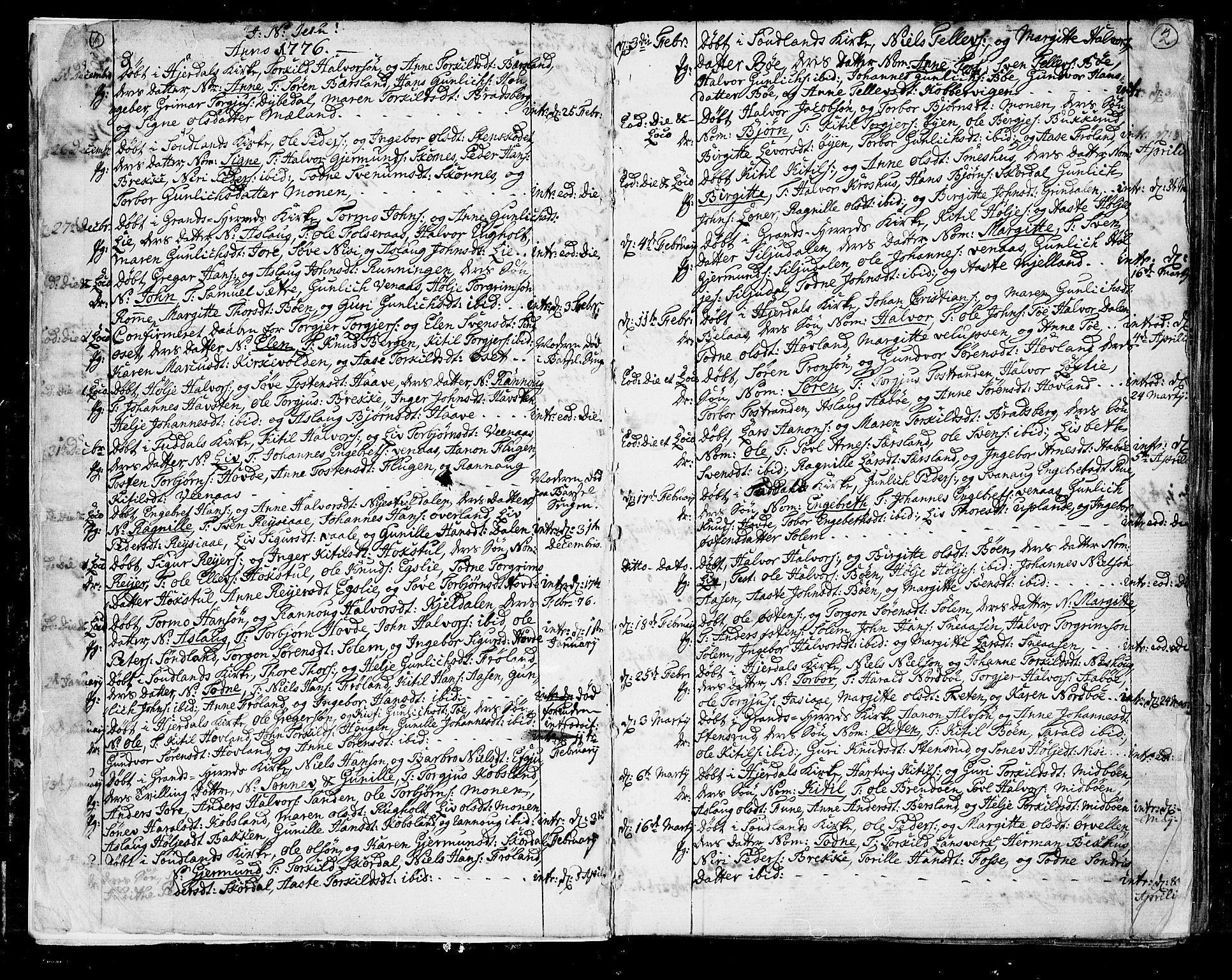 SAKO, Hjartdal kirkebøker, F/Fa/L0005: Ministerialbok nr. I 5, 1776-1801, s. 1-2