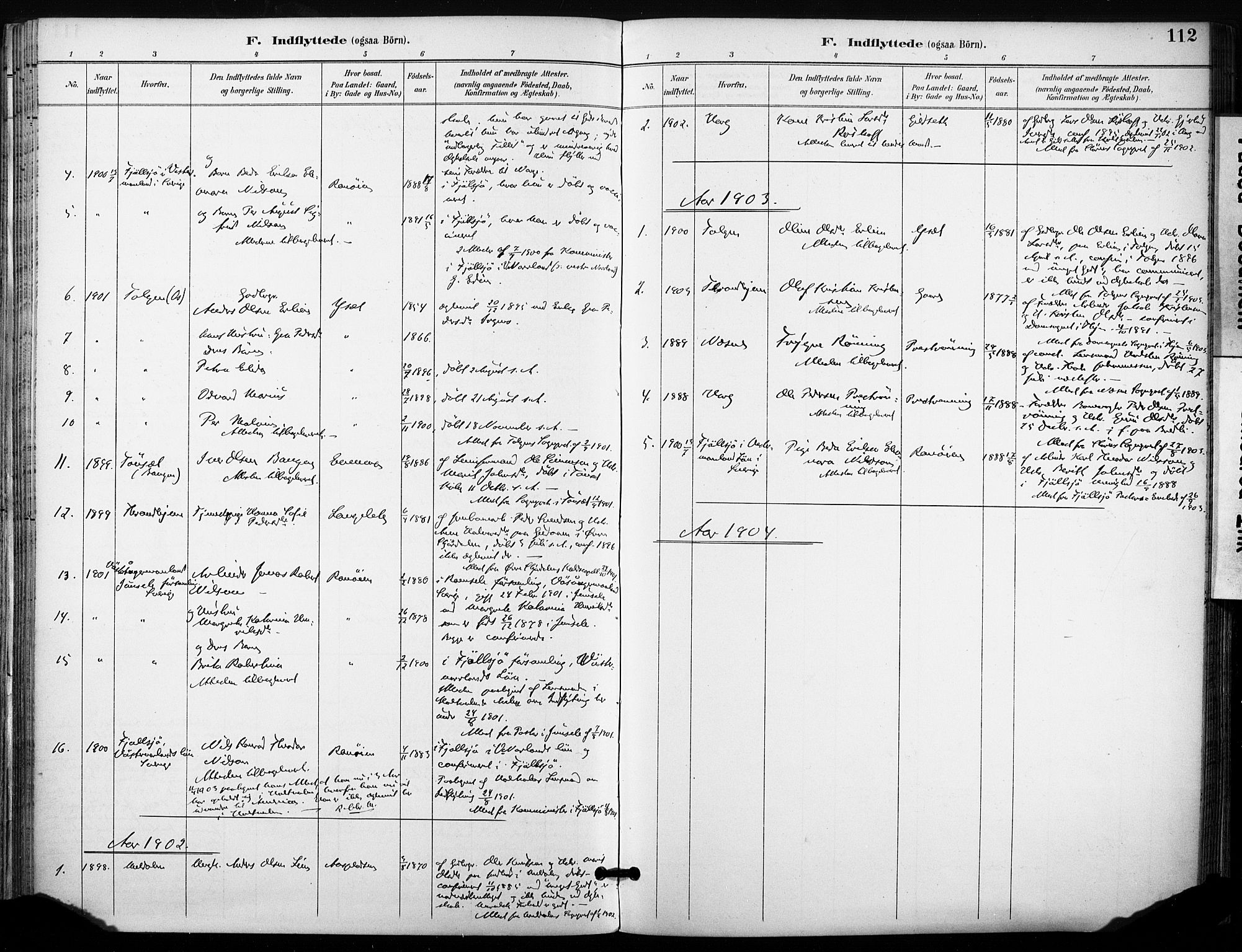 SAT, Ministerialprotokoller, klokkerbøker og fødselsregistre - Sør-Trøndelag, 685/L0973: Ministerialbok nr. 685A10, 1891-1907, s. 112