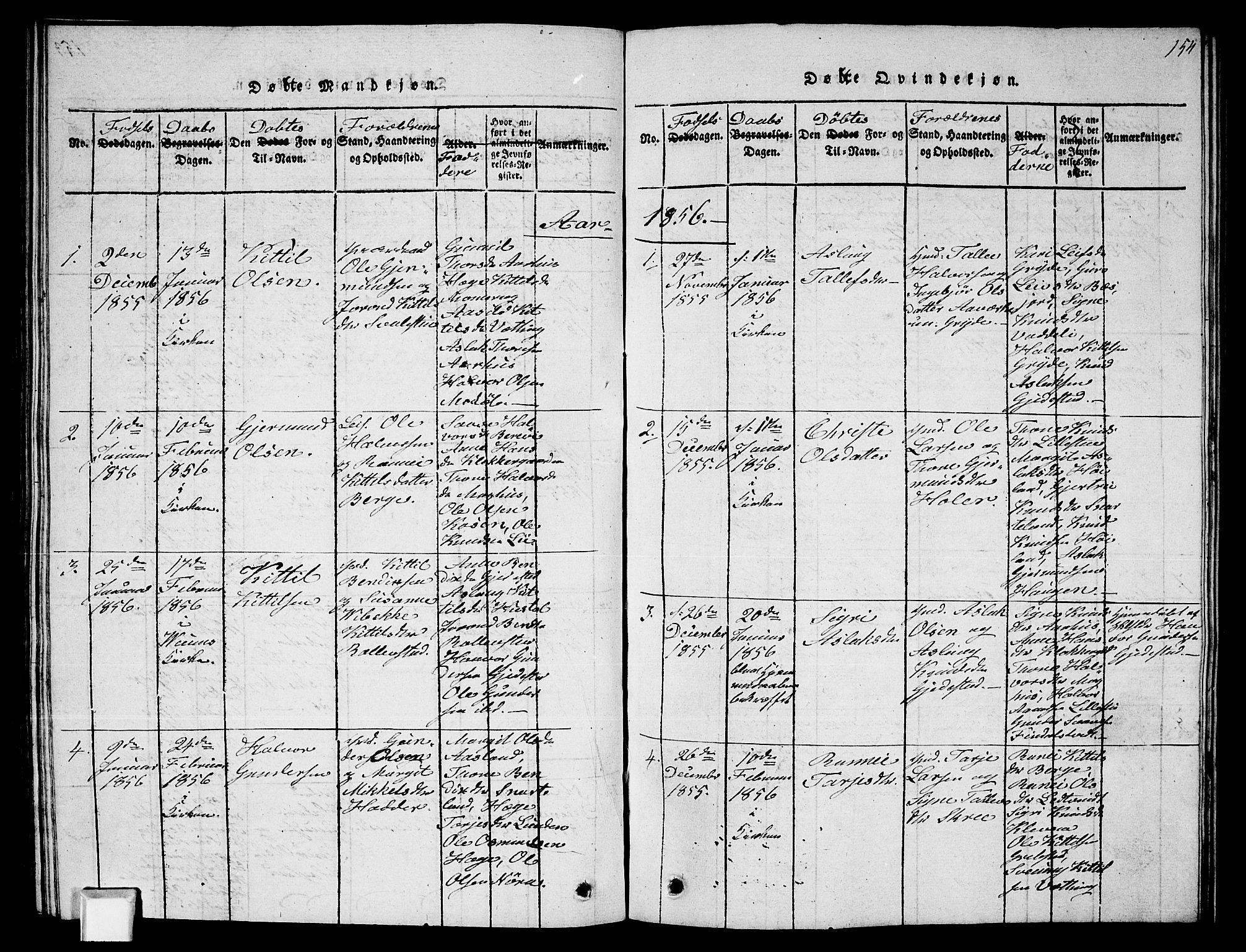 SAKO, Fyresdal kirkebøker, G/Ga/L0002: Klokkerbok nr. I 2, 1815-1857, s. 154