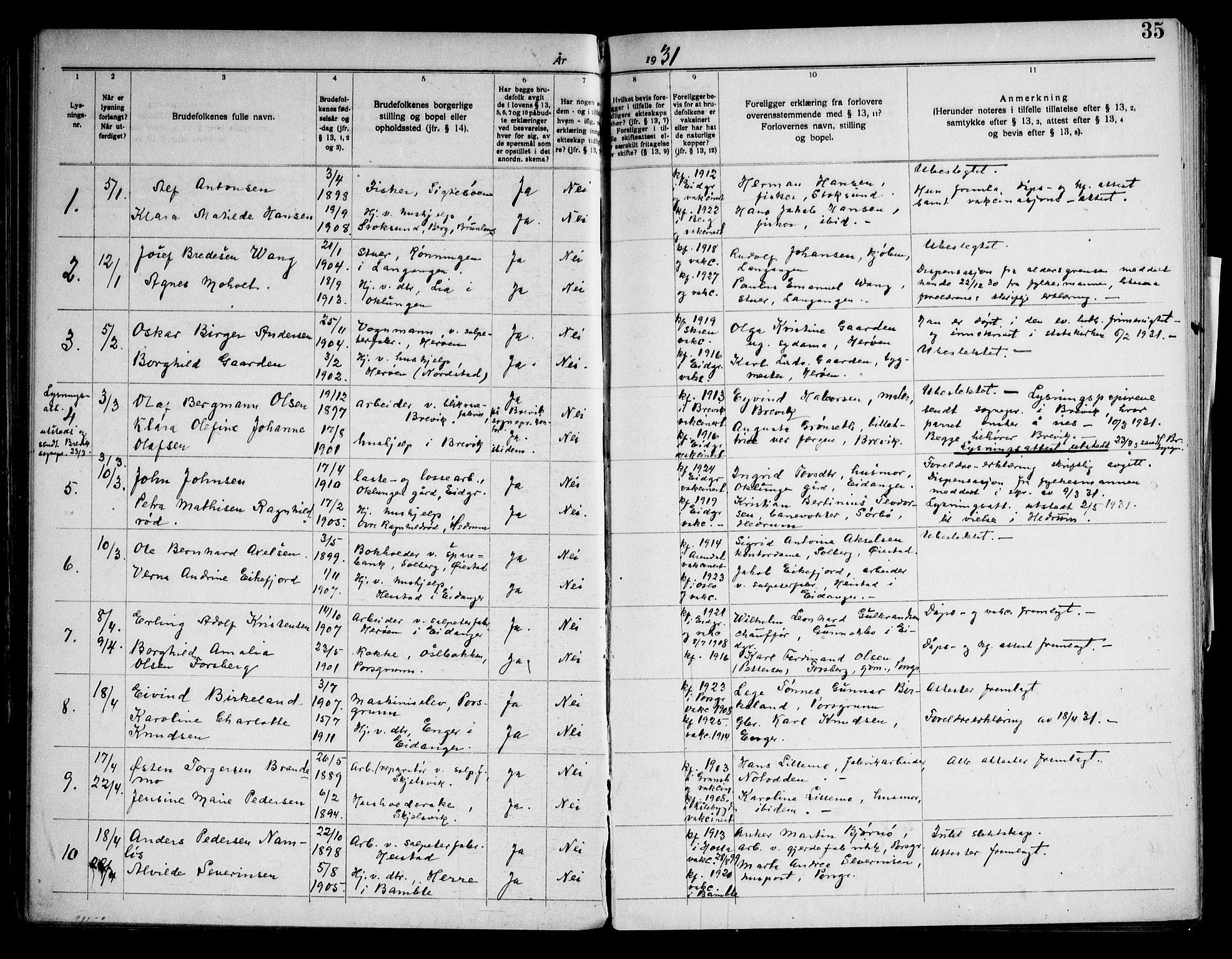 SAKO, Eidanger kirkebøker, H/Ha/L0003: Lysningsprotokoll nr. 3, 1919-1948, s. 35
