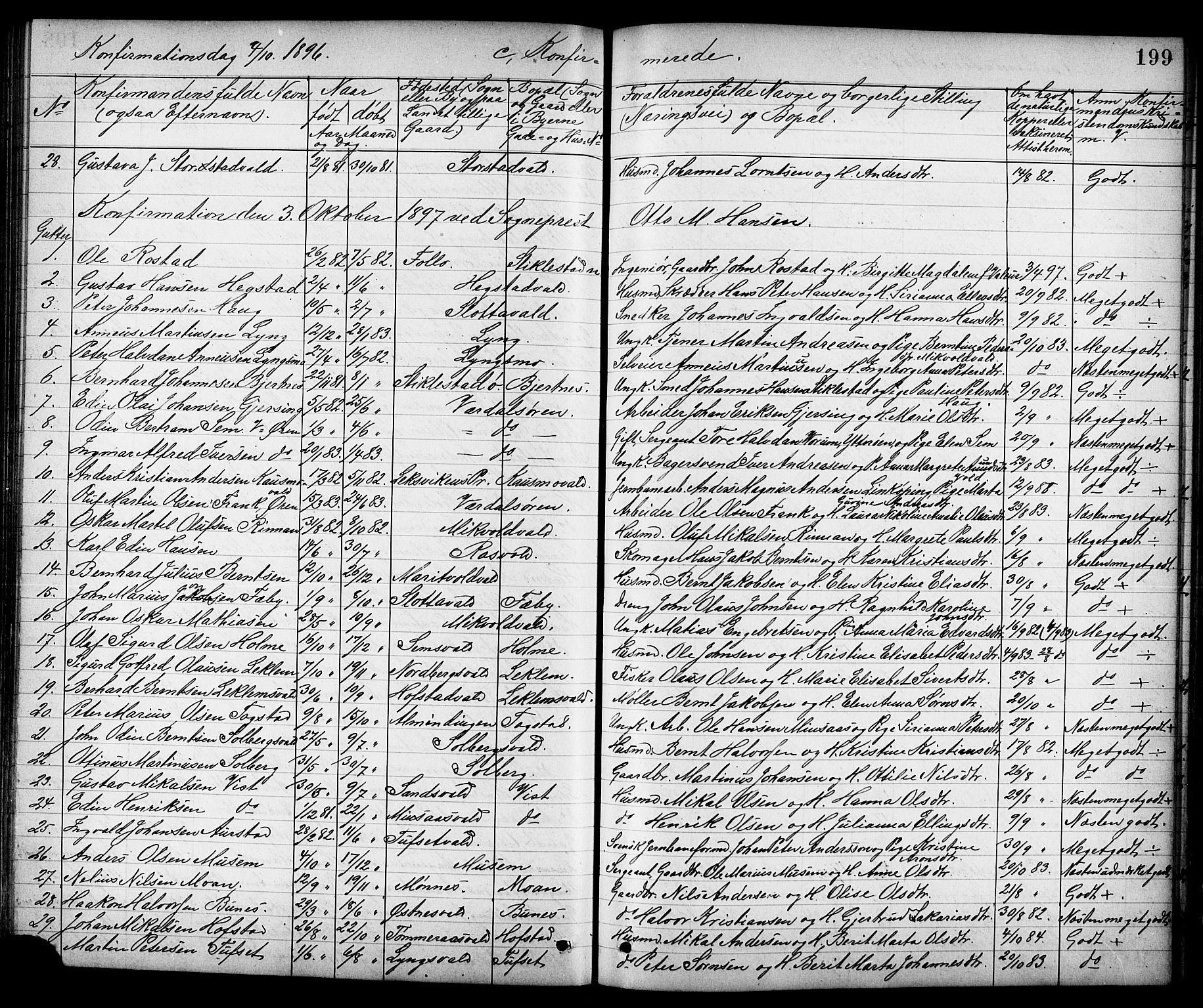 SAT, Ministerialprotokoller, klokkerbøker og fødselsregistre - Nord-Trøndelag, 723/L0257: Klokkerbok nr. 723C05, 1890-1907, s. 199
