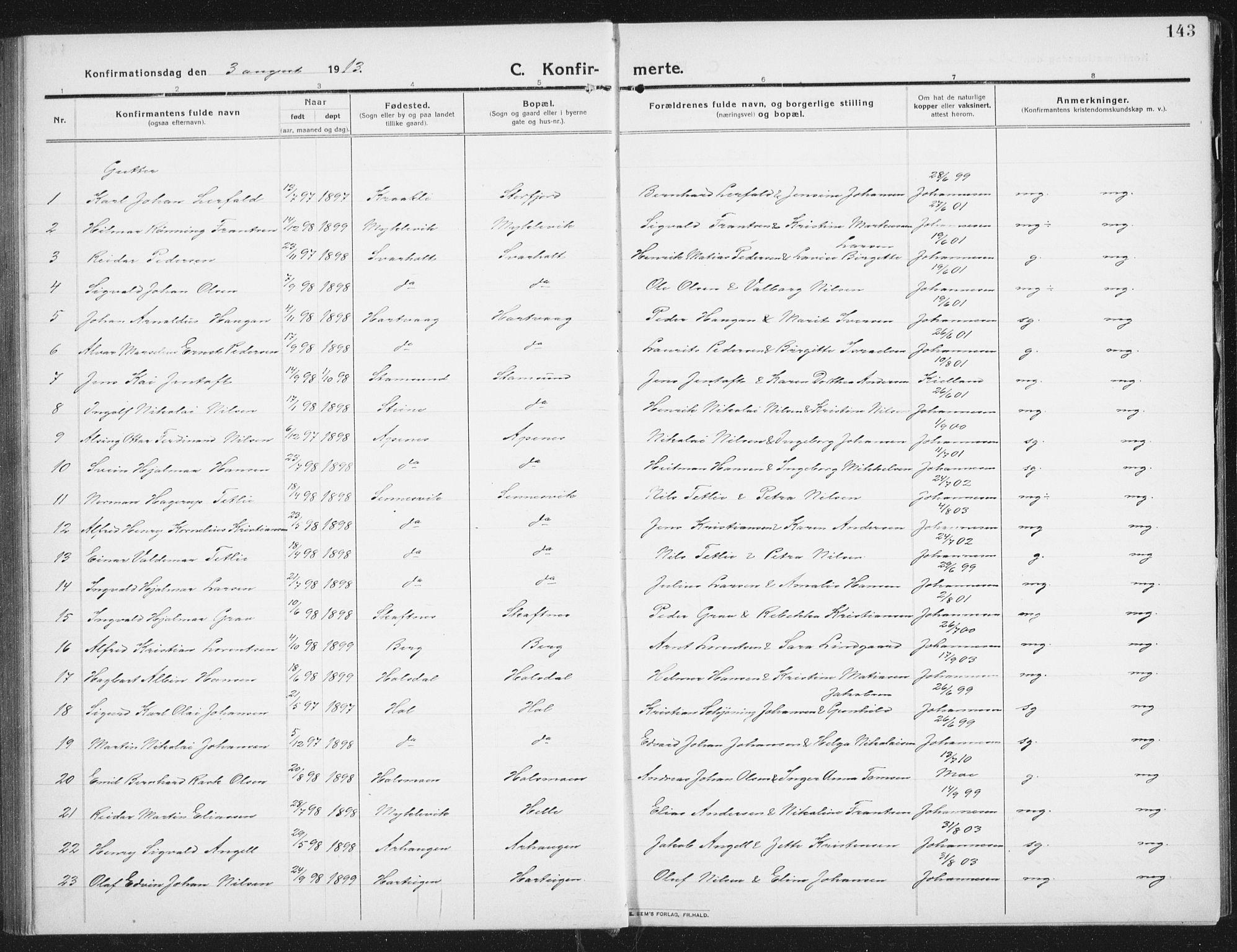 SAT, Ministerialprotokoller, klokkerbøker og fødselsregistre - Nordland, 882/L1183: Klokkerbok nr. 882C01, 1911-1938, s. 143