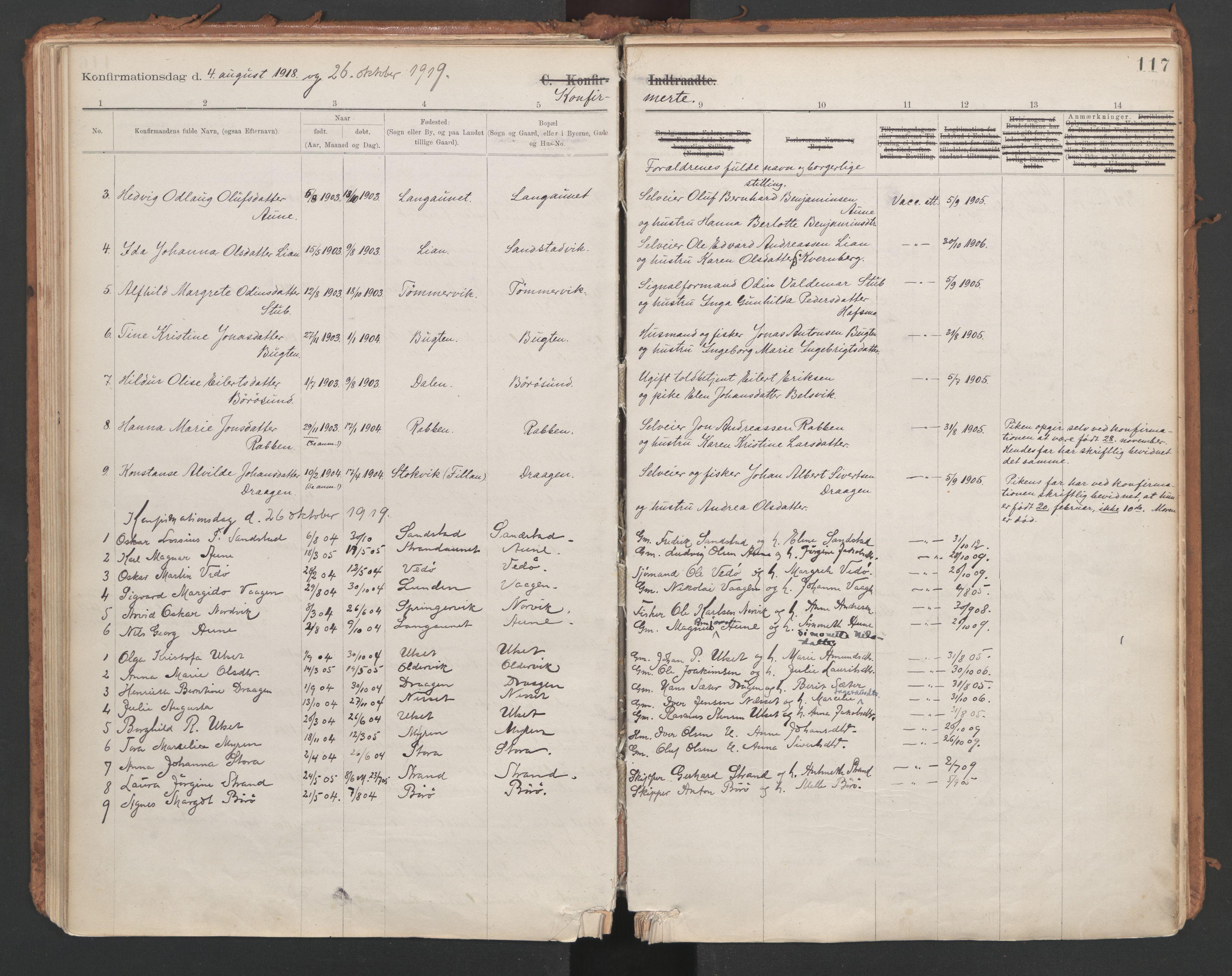 SAT, Ministerialprotokoller, klokkerbøker og fødselsregistre - Sør-Trøndelag, 639/L0572: Ministerialbok nr. 639A01, 1890-1920, s. 117