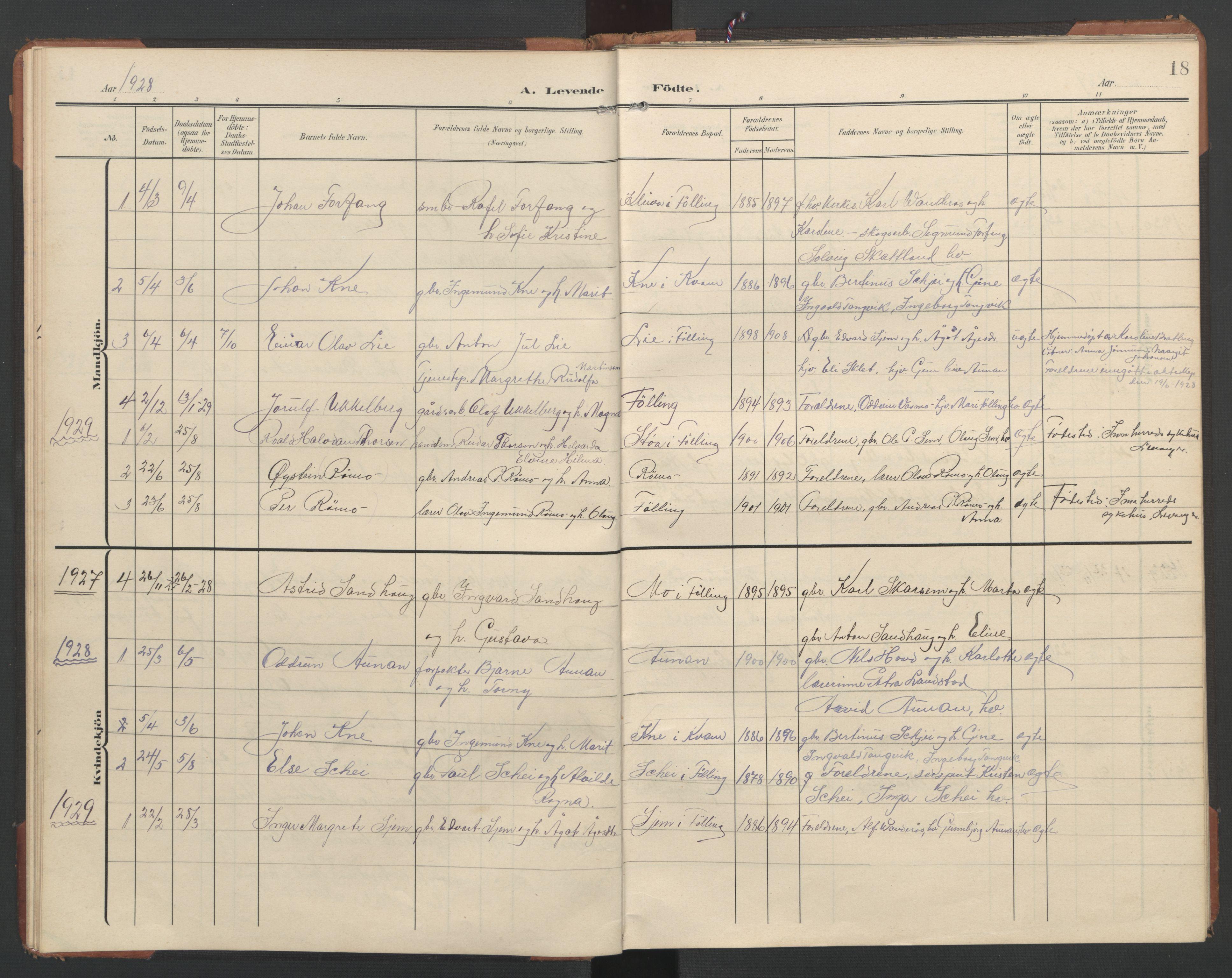 SAT, Ministerialprotokoller, klokkerbøker og fødselsregistre - Nord-Trøndelag, 748/L0465: Klokkerbok nr. 748C01, 1908-1960, s. 18