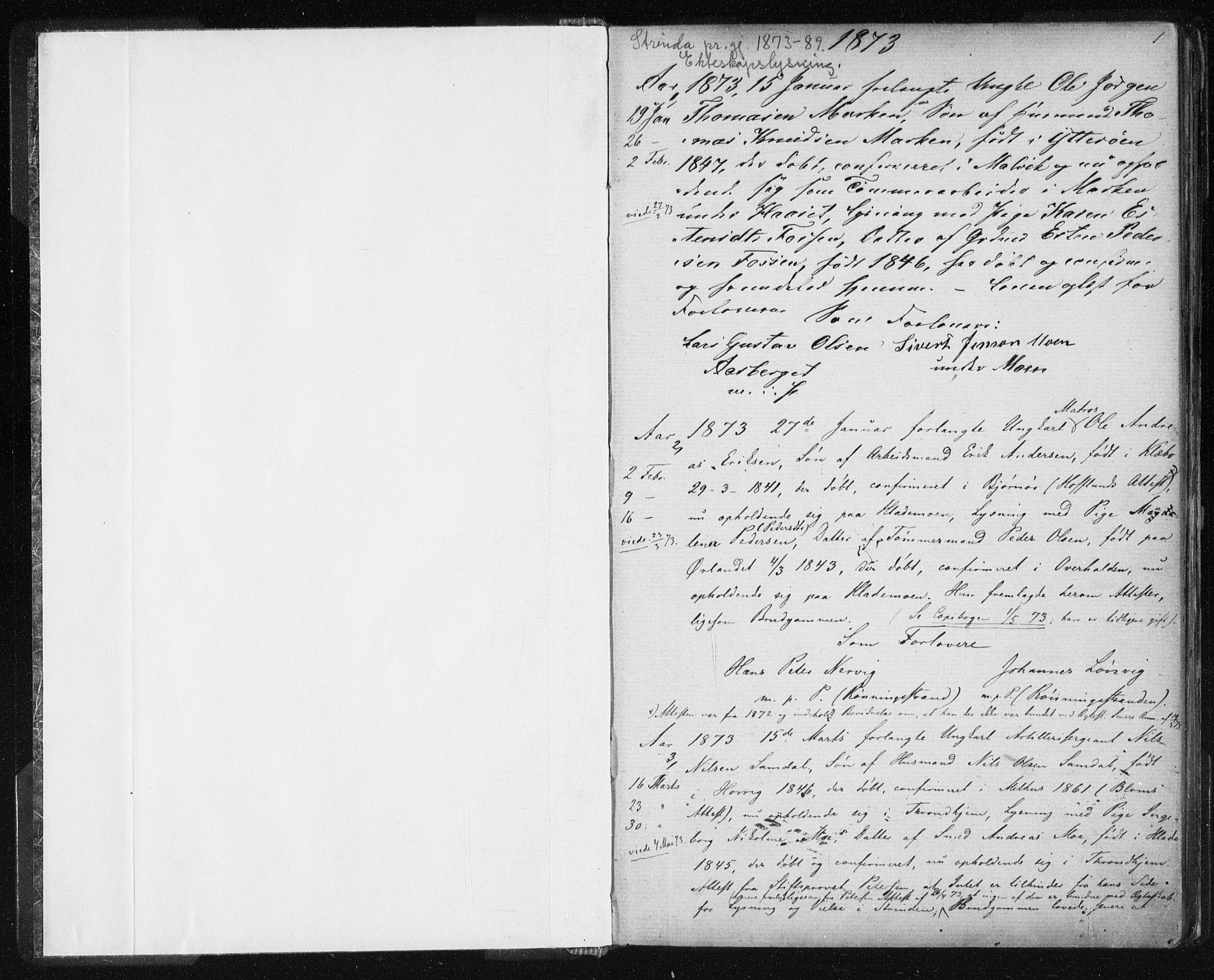 SAT, Ministerialprotokoller, klokkerbøker og fødselsregistre - Sør-Trøndelag, 606/L0299: Lysningsprotokoll nr. 606A14, 1873-1889, s. 1