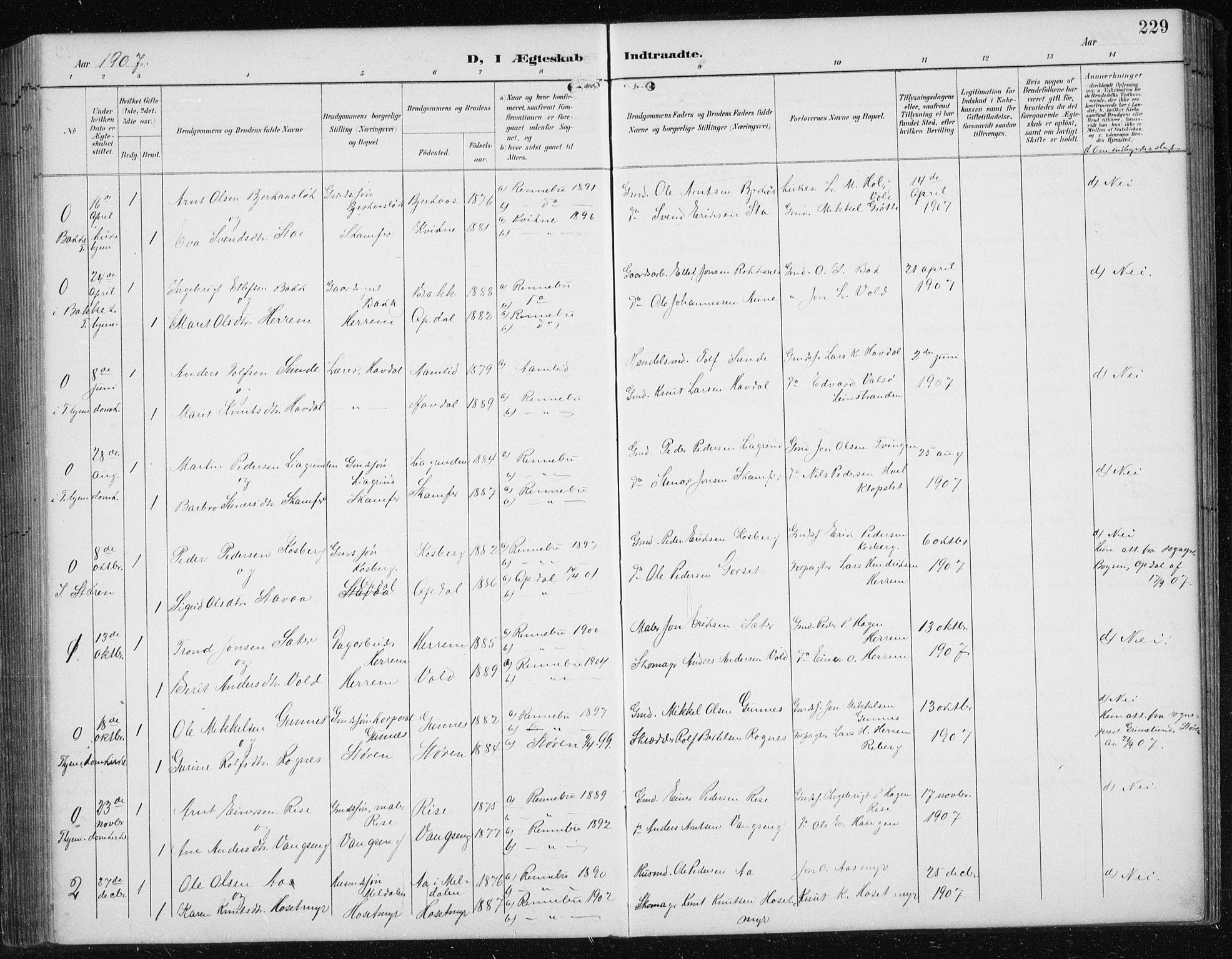 SAT, Ministerialprotokoller, klokkerbøker og fødselsregistre - Sør-Trøndelag, 674/L0876: Klokkerbok nr. 674C03, 1892-1912, s. 229