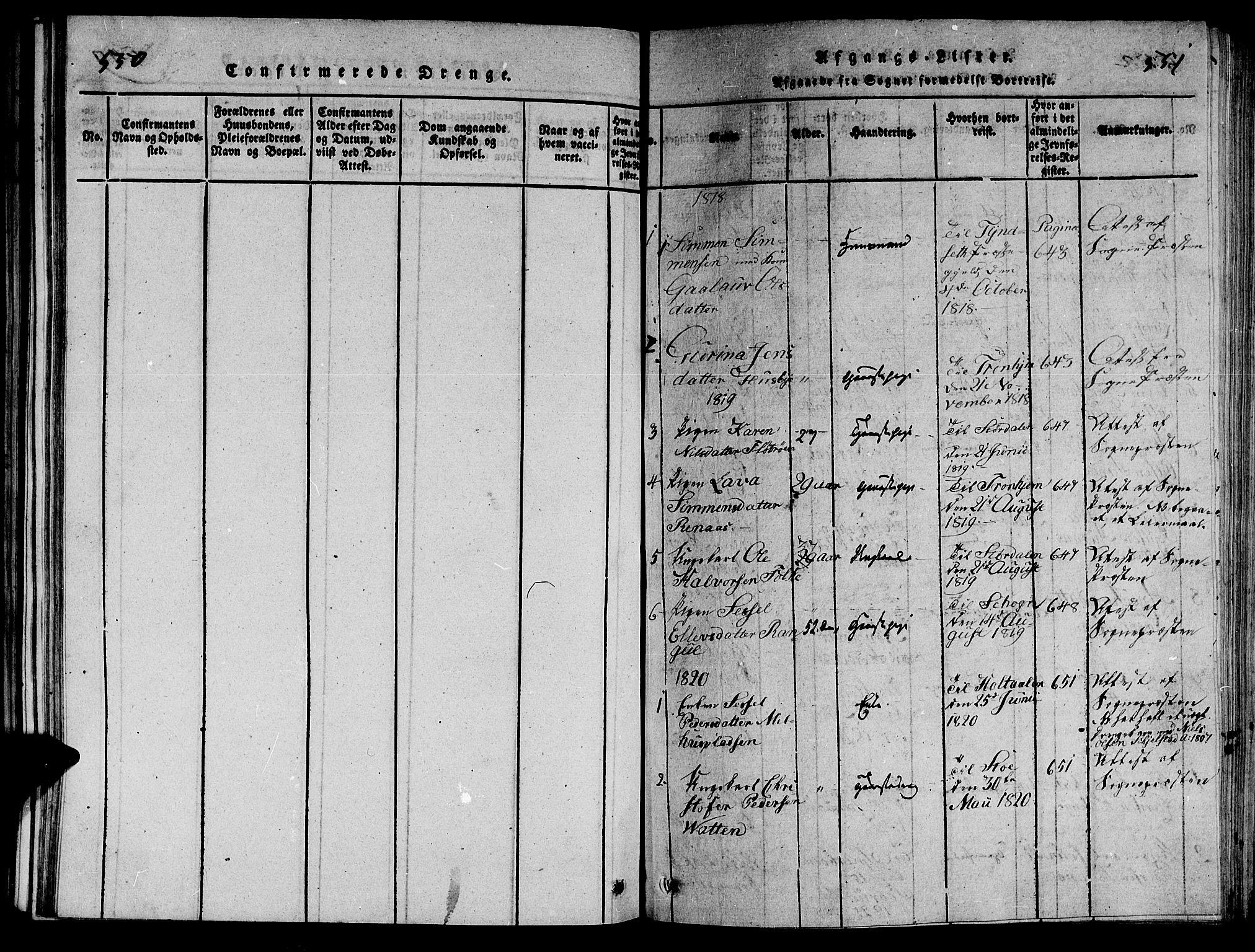 SAT, Ministerialprotokoller, klokkerbøker og fødselsregistre - Nord-Trøndelag, 714/L0132: Klokkerbok nr. 714C01, 1817-1824, s. 550-551