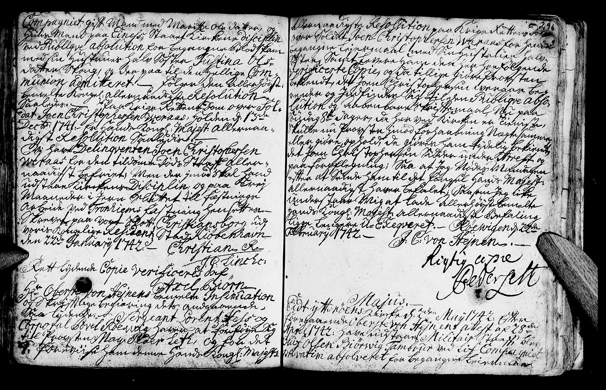 SAT, Ministerialprotokoller, klokkerbøker og fødselsregistre - Nord-Trøndelag, 722/L0215: Ministerialbok nr. 722A02, 1718-1755, s. 296