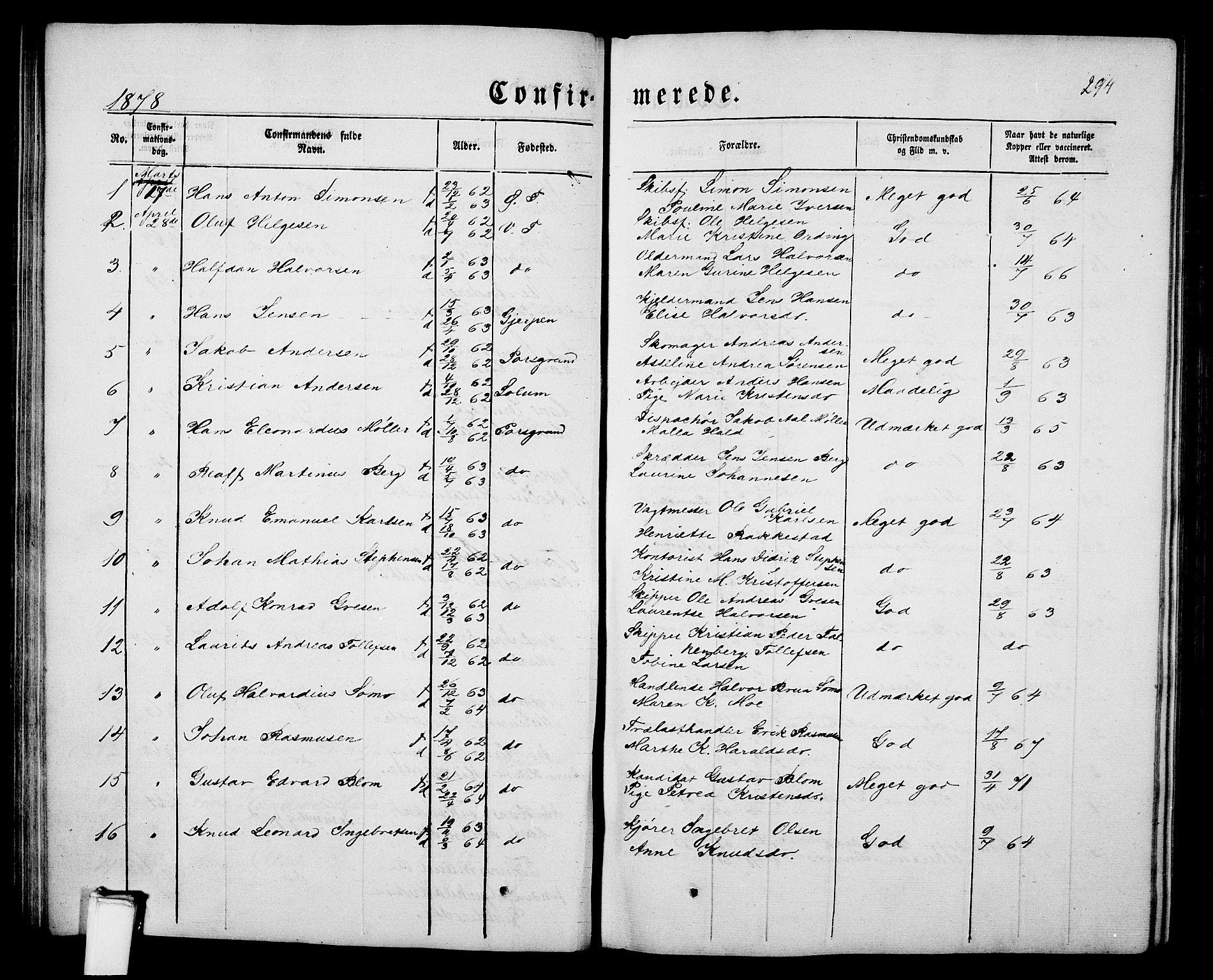 SAKO, Porsgrunn kirkebøker , G/Gb/L0004: Klokkerbok nr. II 4, 1853-1882, s. 294