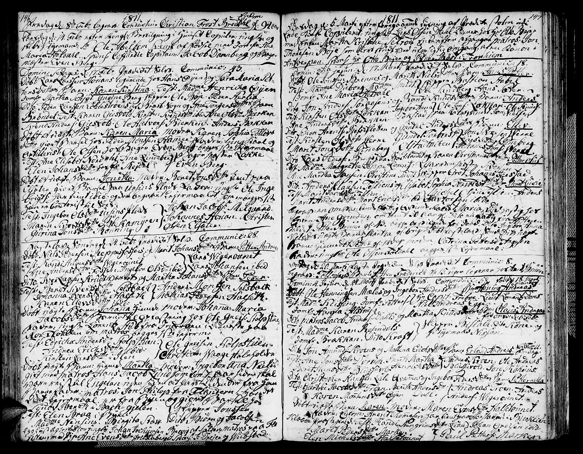 SAT, Ministerialprotokoller, klokkerbøker og fødselsregistre - Sør-Trøndelag, 604/L0181: Ministerialbok nr. 604A02, 1798-1817, s. 146-147