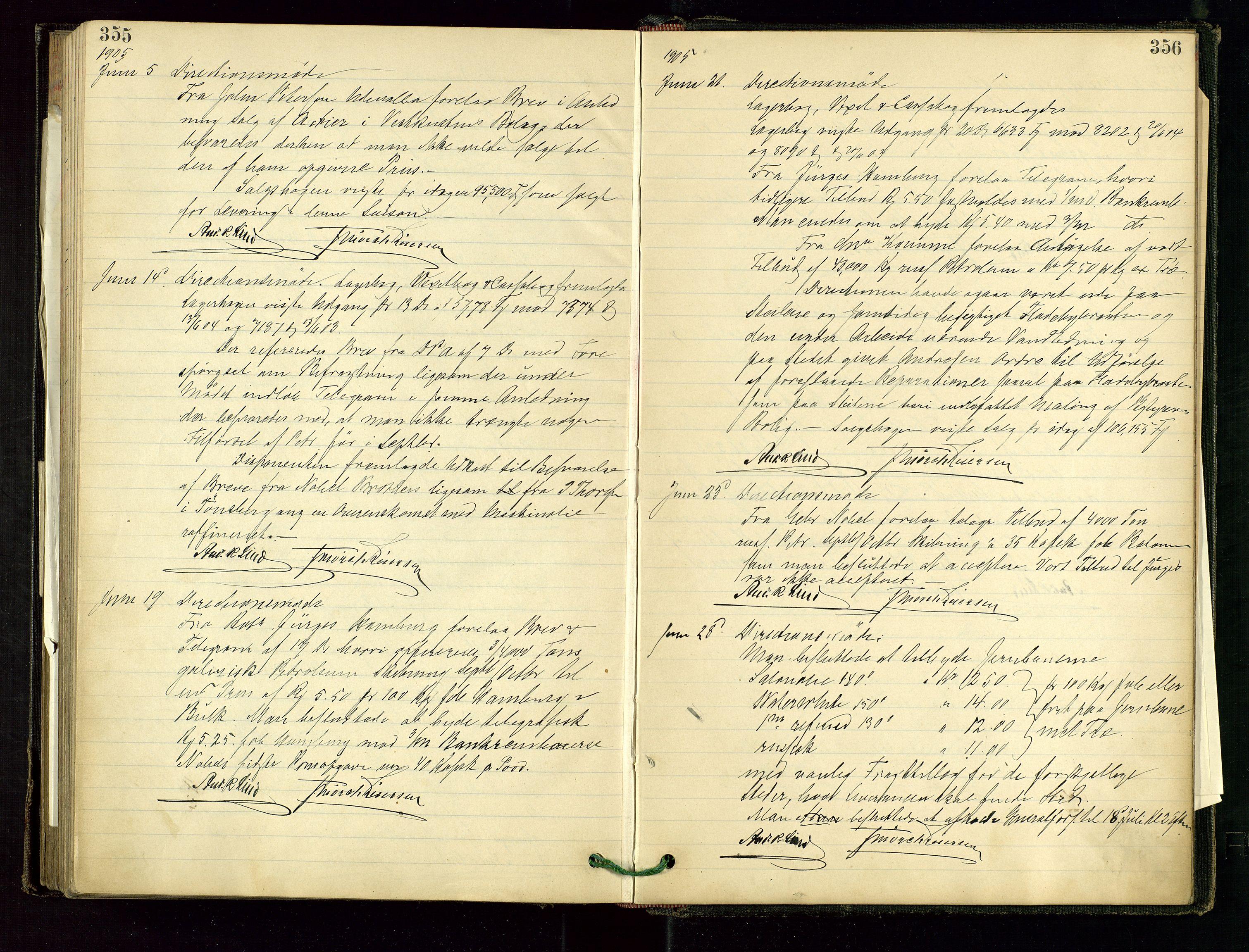 SAST, PA 1534 - Østlandske Petroleumscompagni A/S, A/Aa/L0001: Generalforsamlinger og direksjonsprotokoller., 1892-1905, s. 355-356