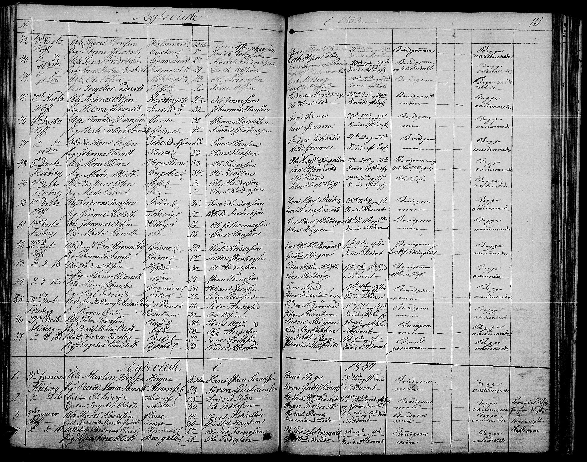 SAH, Søndre Land prestekontor, L/L0001: Klokkerbok nr. 1, 1849-1883, s. 161