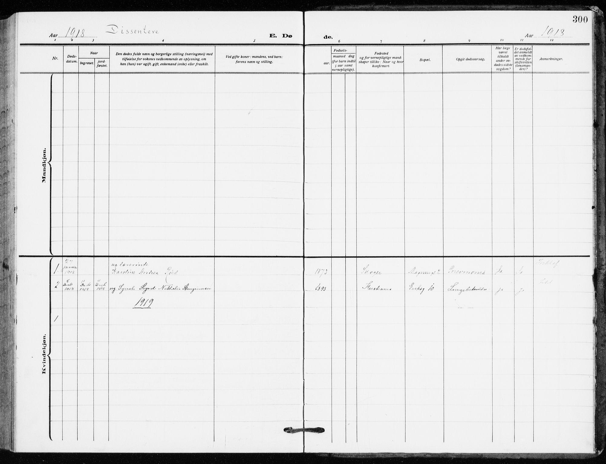 SAO, Kampen prestekontor Kirkebøker, F/Fa/L0013: Ministerialbok nr. I 13, 1917-1922, s. 300