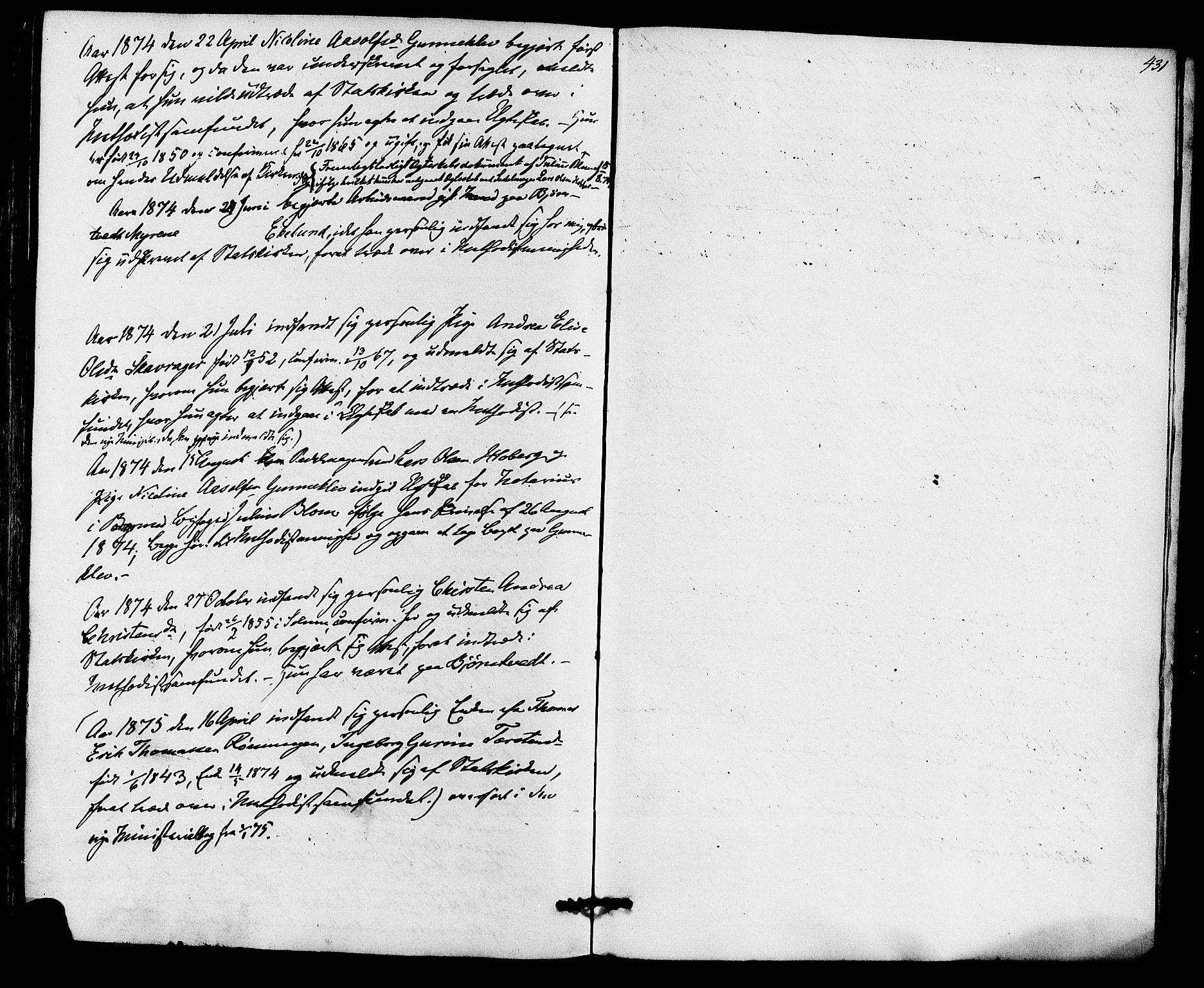 SAKO, Eidanger kirkebøker, F/Fa/L0010: Ministerialbok nr. 10, 1859-1874, s. 431