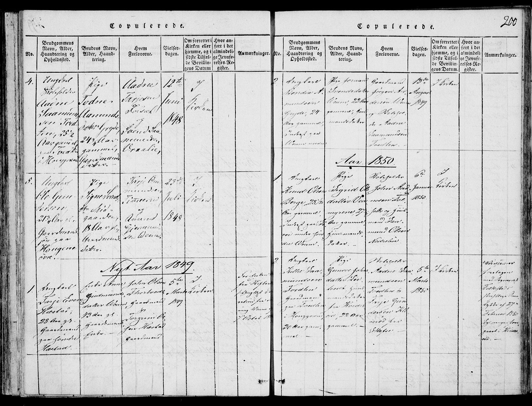 SAKO, Fyresdal kirkebøker, F/Fb/L0001: Ministerialbok nr. II 1, 1815-1854, s. 200
