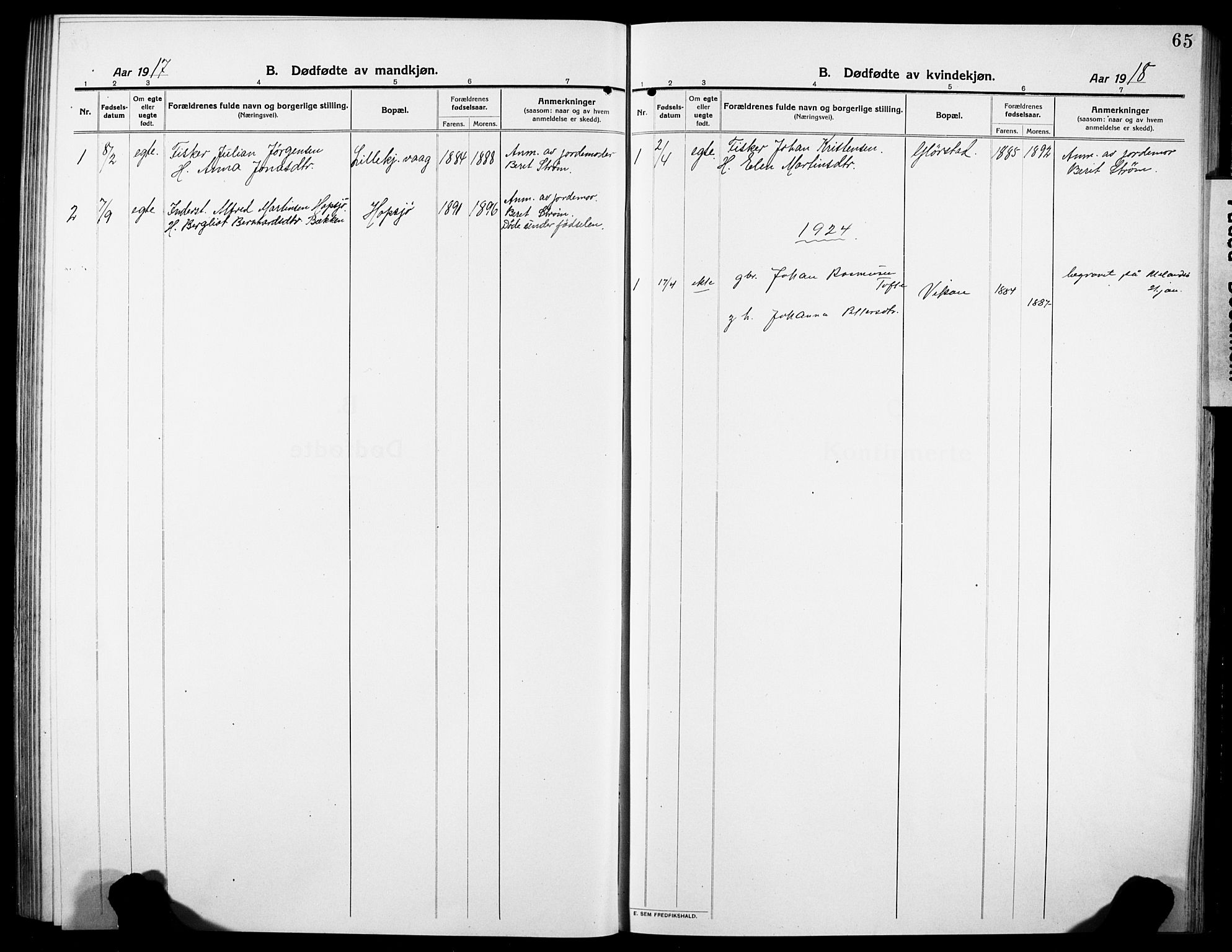 SAT, Ministerialprotokoller, klokkerbøker og fødselsregistre - Sør-Trøndelag, 634/L0543: Klokkerbok nr. 634C05, 1917-1928, s. 65