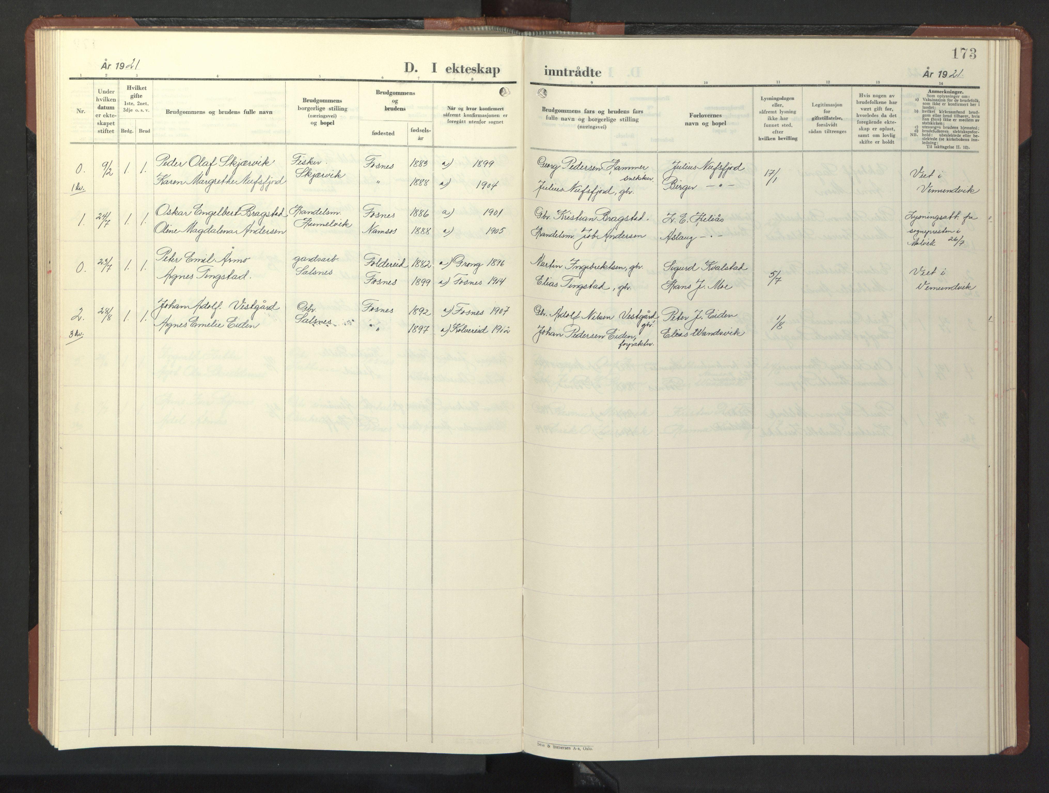 SAT, Ministerialprotokoller, klokkerbøker og fødselsregistre - Nord-Trøndelag, 773/L0625: Klokkerbok nr. 773C01, 1910-1952, s. 173