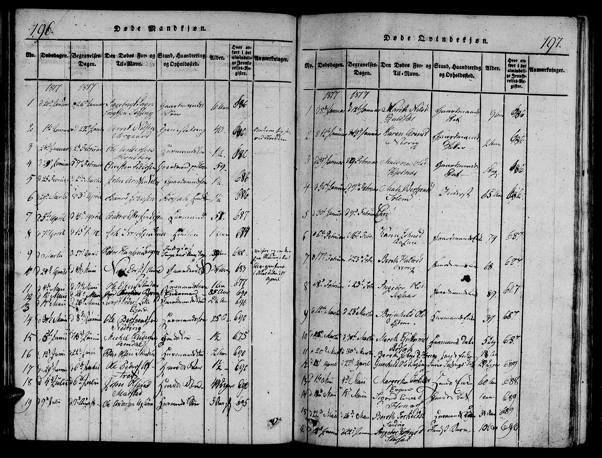 SAT, Ministerialprotokoller, klokkerbøker og fødselsregistre - Sør-Trøndelag, 695/L1141: Ministerialbok nr. 695A04 /1, 1816-1824, s. 196-197