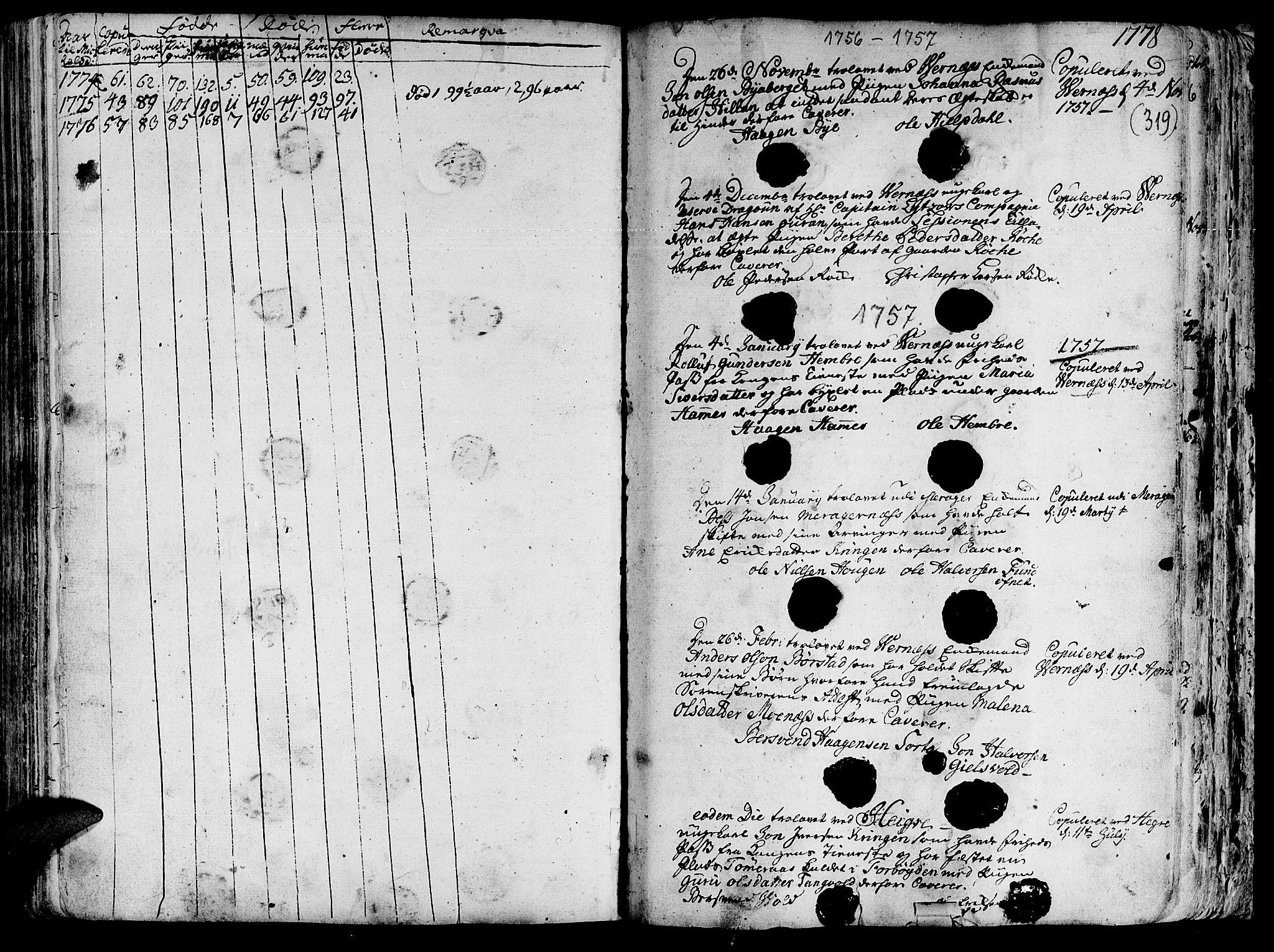 SAT, Ministerialprotokoller, klokkerbøker og fødselsregistre - Nord-Trøndelag, 709/L0057: Ministerialbok nr. 709A05, 1755-1780, s. 319