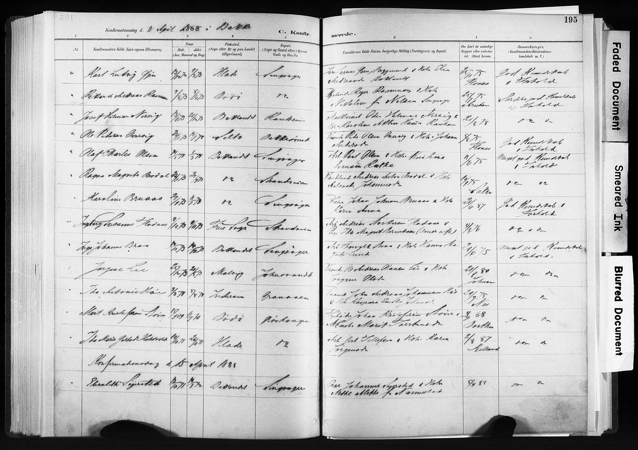 SAT, Ministerialprotokoller, klokkerbøker og fødselsregistre - Sør-Trøndelag, 606/L0300: Ministerialbok nr. 606A15, 1886-1893, s. 195