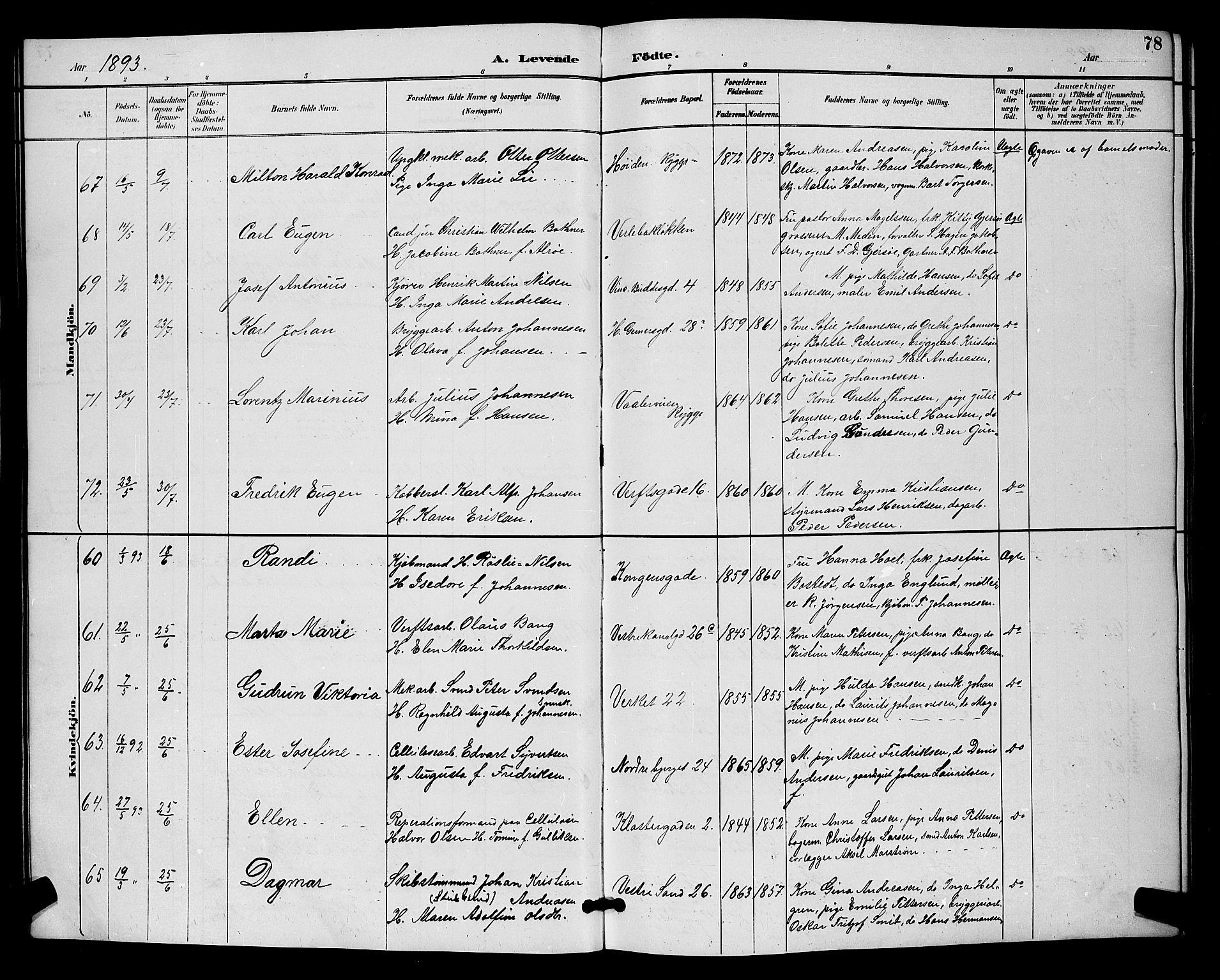 SAO, Moss prestekontor Kirkebøker, G/Ga/L0006: Klokkerbok nr. I 6, 1889-1900, s. 78