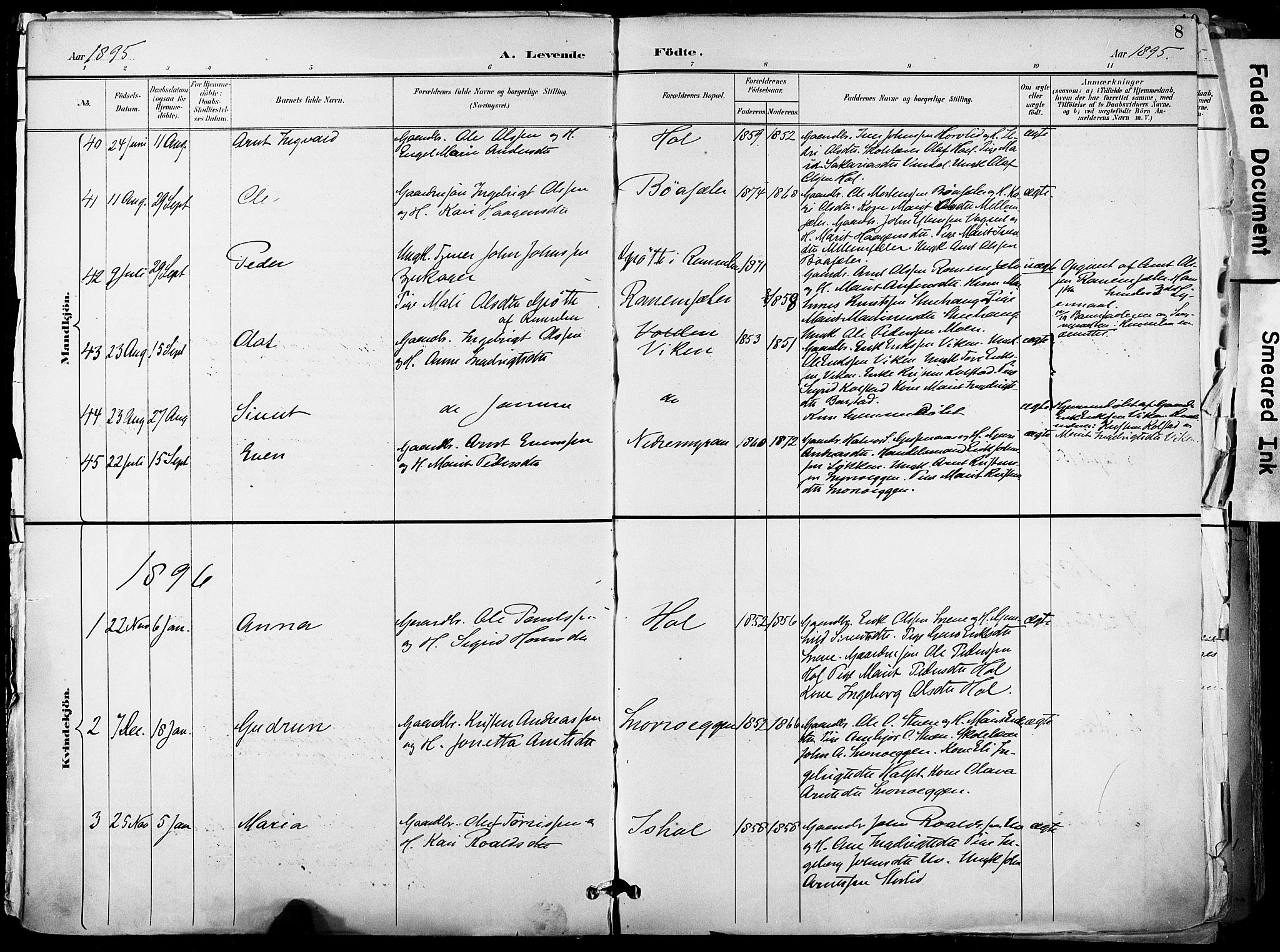 SAT, Ministerialprotokoller, klokkerbøker og fødselsregistre - Sør-Trøndelag, 678/L0902: Ministerialbok nr. 678A11, 1895-1911, s. 8