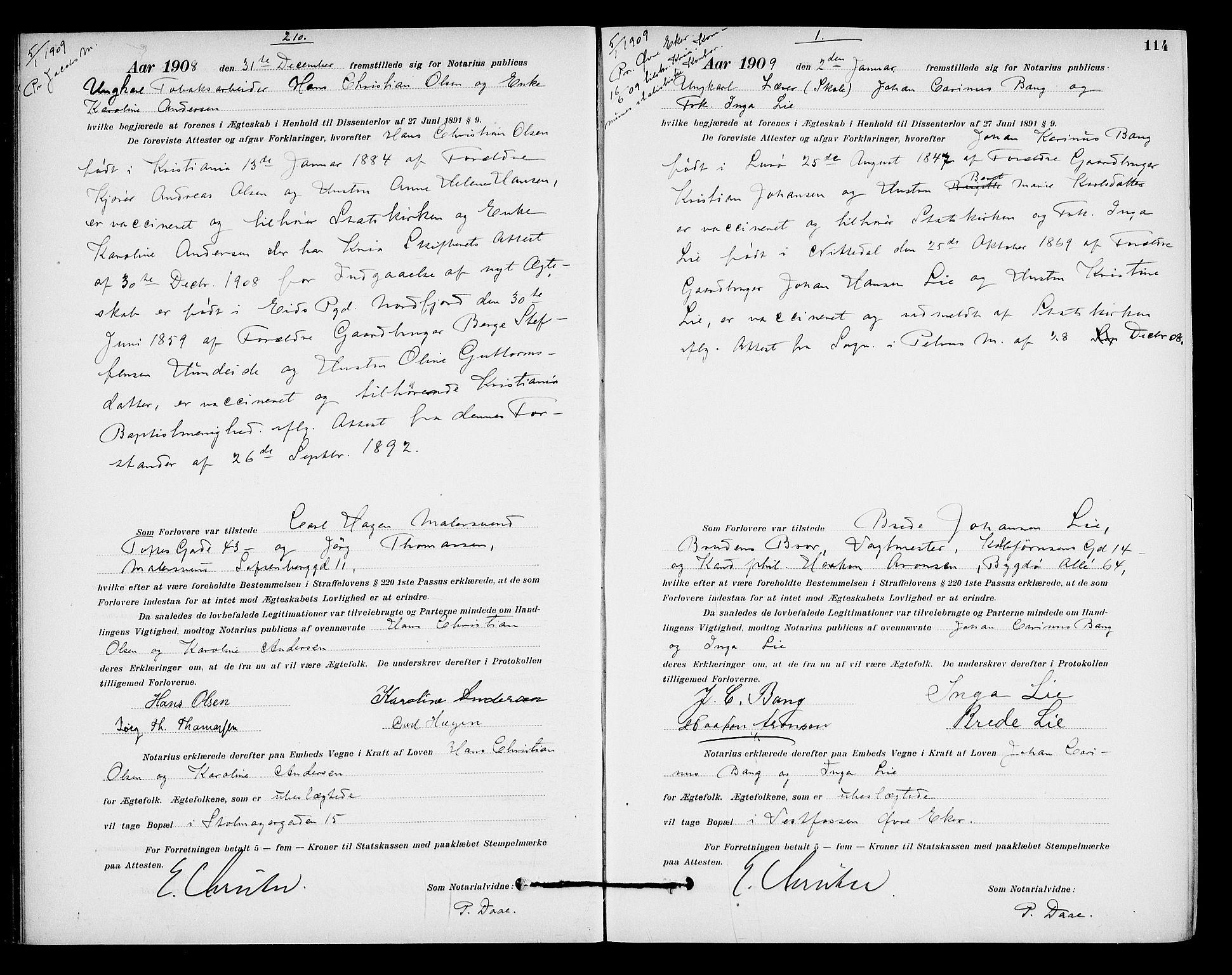 SAO, Oslo byfogd avd. I, L/Lb/Lbb/L0007: Notarialprotokoll, rekke II: Vigsler, 1907-1911, s. 113b-114a