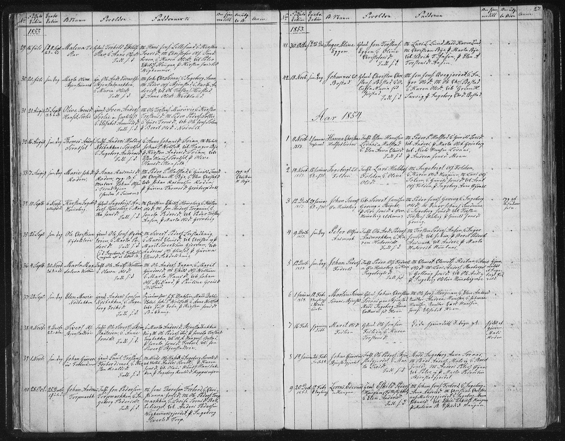 SAT, Ministerialprotokoller, klokkerbøker og fødselsregistre - Sør-Trøndelag, 616/L0406: Ministerialbok nr. 616A03, 1843-1879, s. 27
