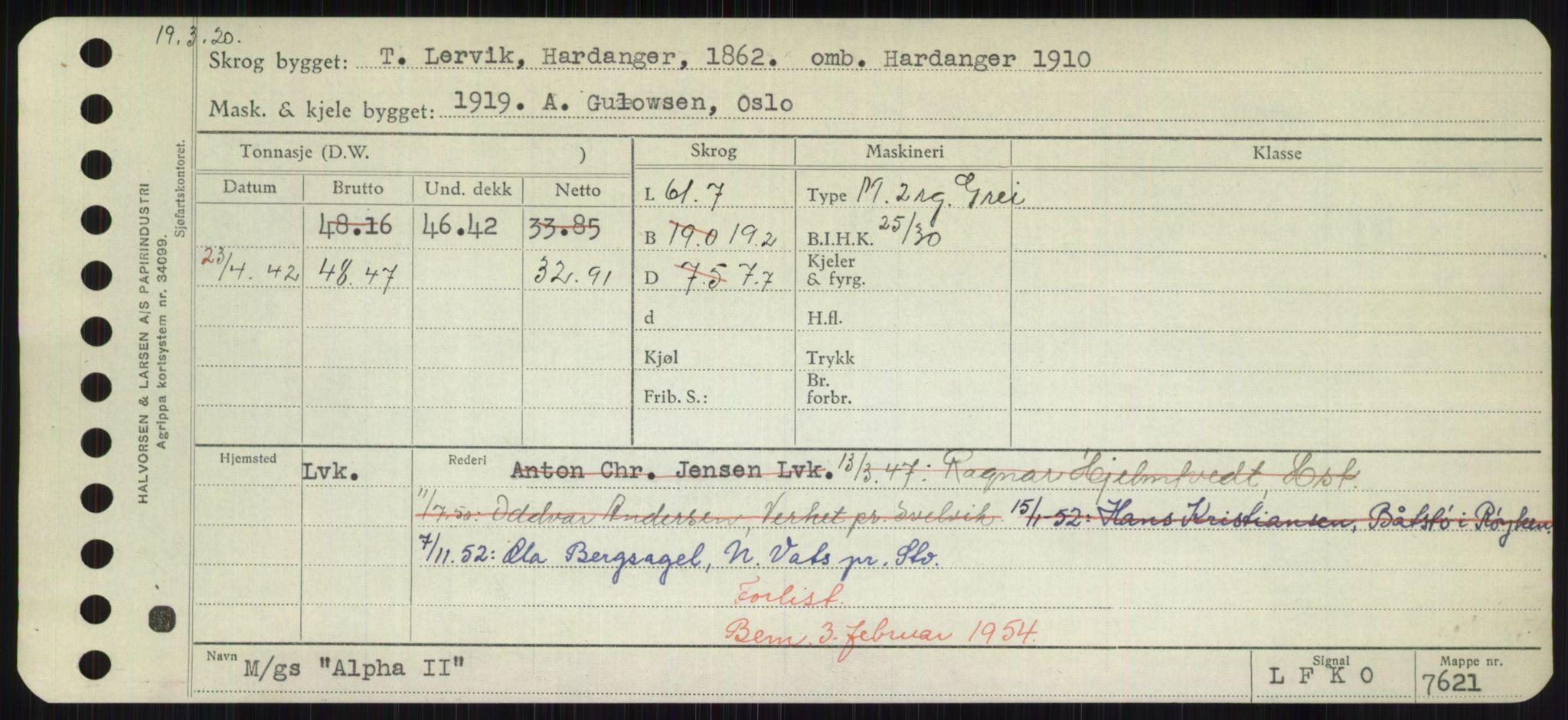 RA, Sjøfartsdirektoratet med forløpere, Skipsmålingen, H/Hd/L0001: Fartøy, A-Anv, s. 393