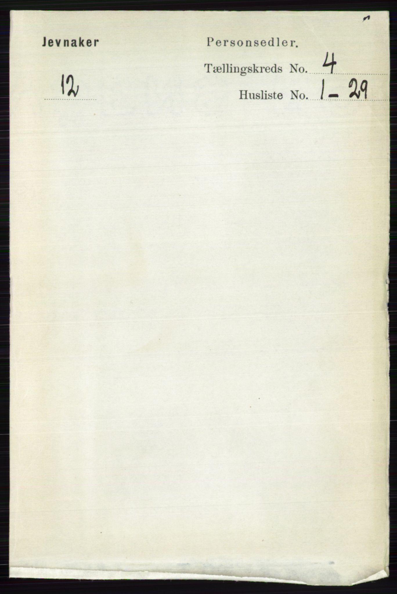 RA, Folketelling 1891 for 0532 Jevnaker herred, 1891, s. 1739