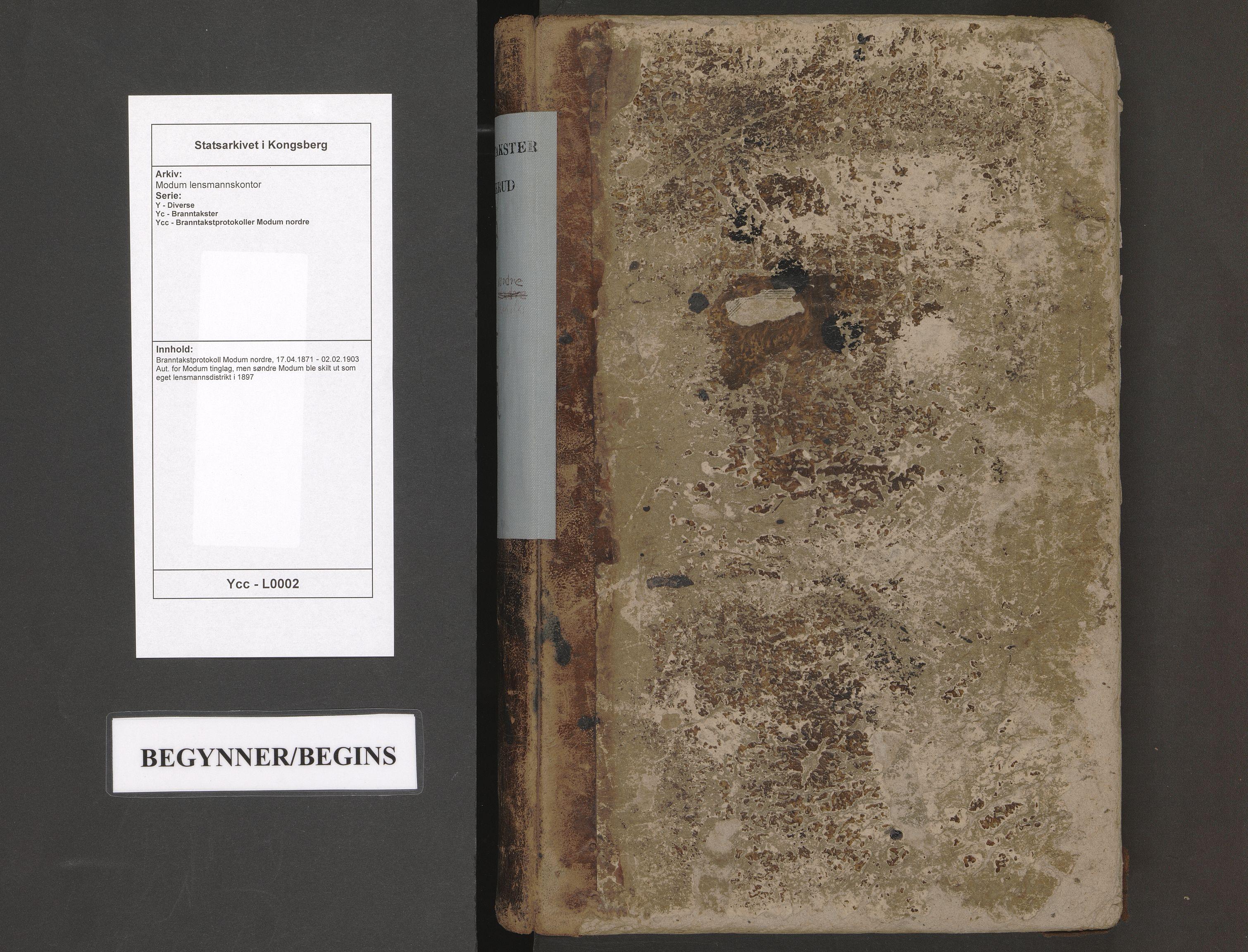 SAKO, Modum lensmannskontor, Y/Yc/Ycc/L0002: Branntakstprotokoll Modum nordre, 1871-1903
