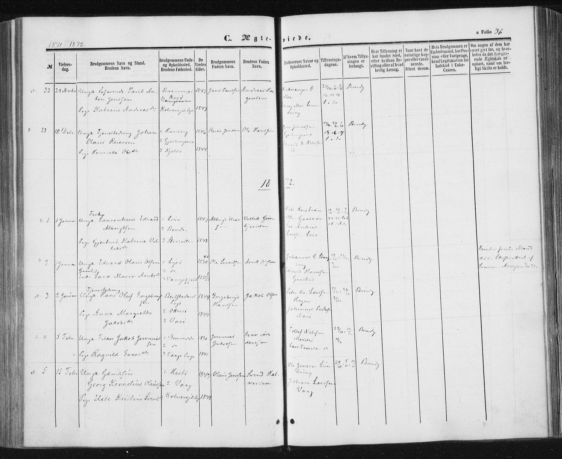 SAT, Ministerialprotokoller, klokkerbøker og fødselsregistre - Nord-Trøndelag, 784/L0670: Ministerialbok nr. 784A05, 1860-1876, s. 36